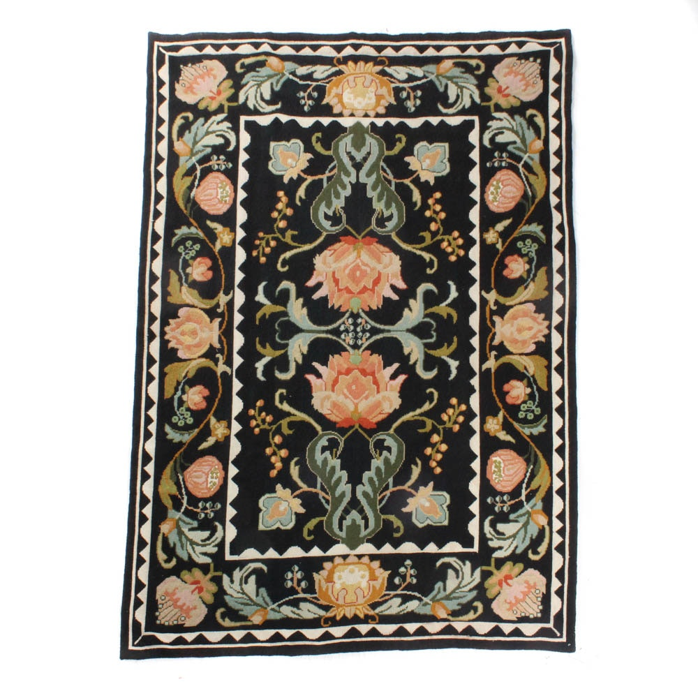Hand-Knotted Fine French-Style Needlepoint Rug