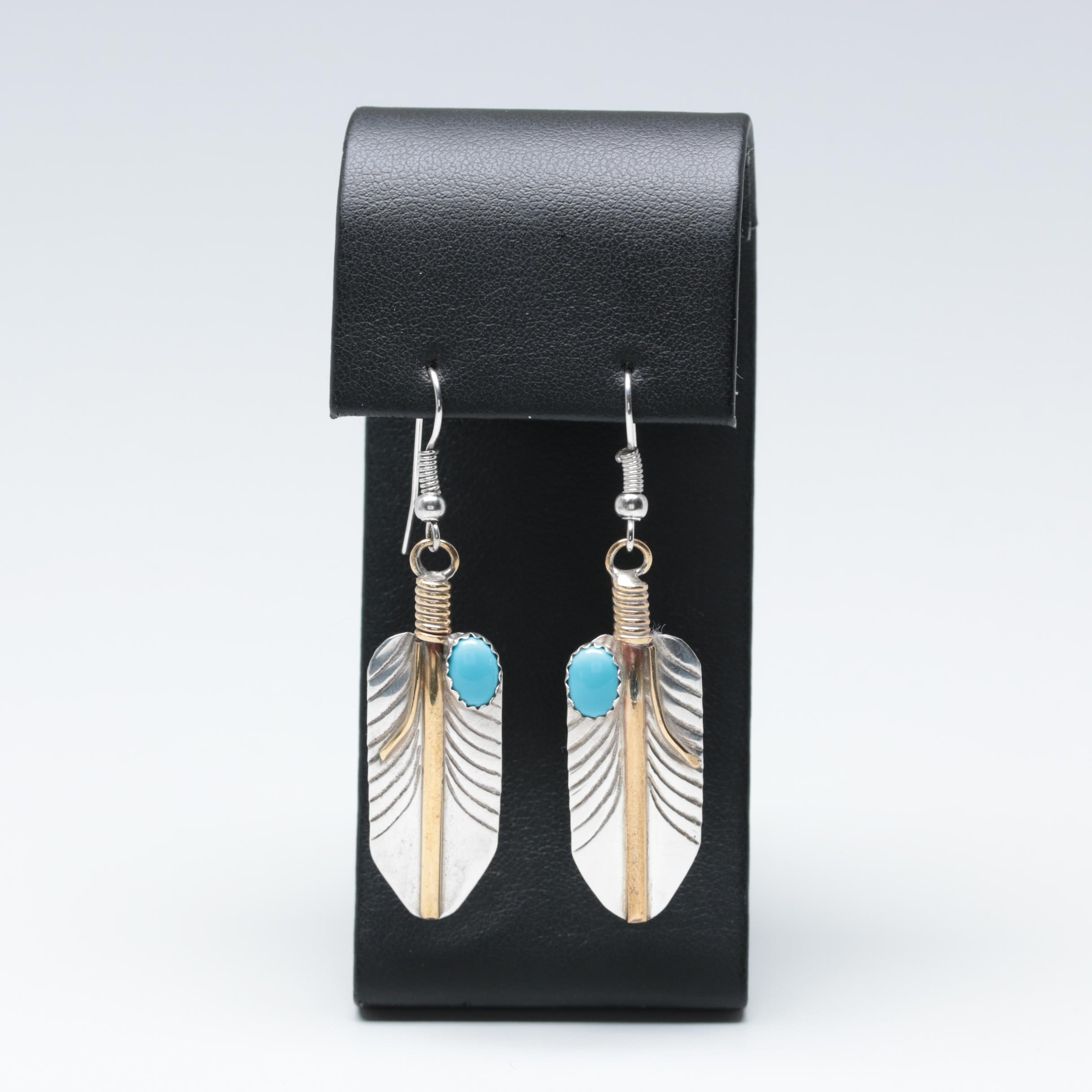 Verdy Jake Navajo Diné Sterling Silver Imitation Turquoise Earrings