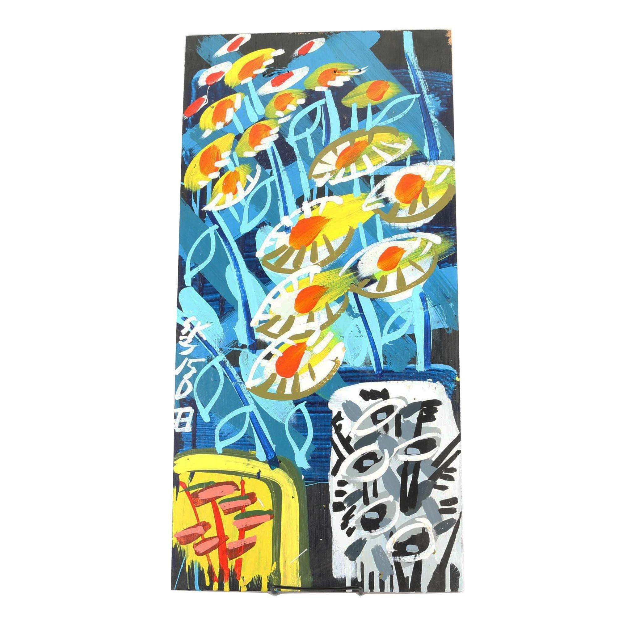 Steve Keene Acrylic Painting on Panel