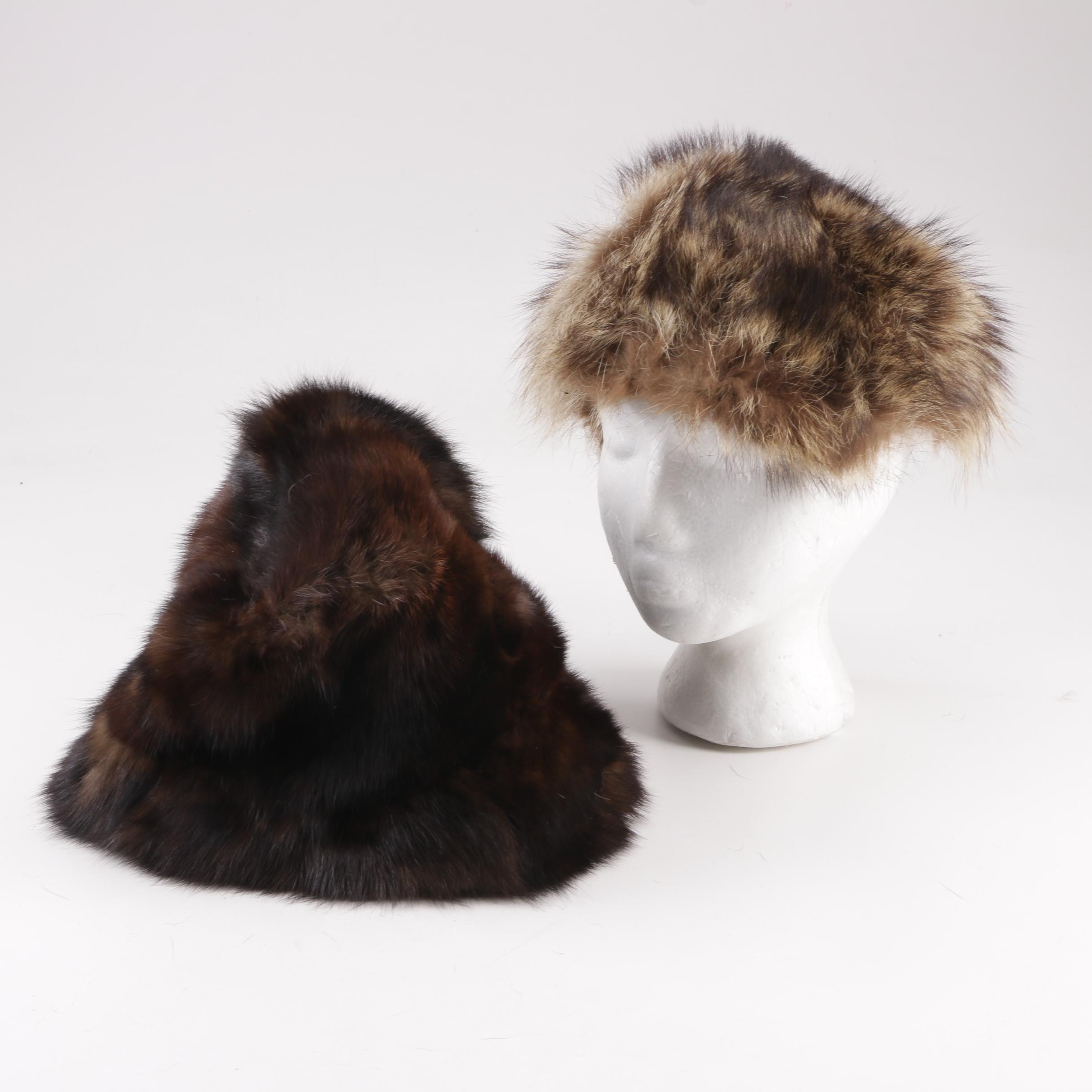 Vintage Dyed Rabbit Fur Hat and Ronna Lewis for Bonwit Teller Raccoon Fur Hat