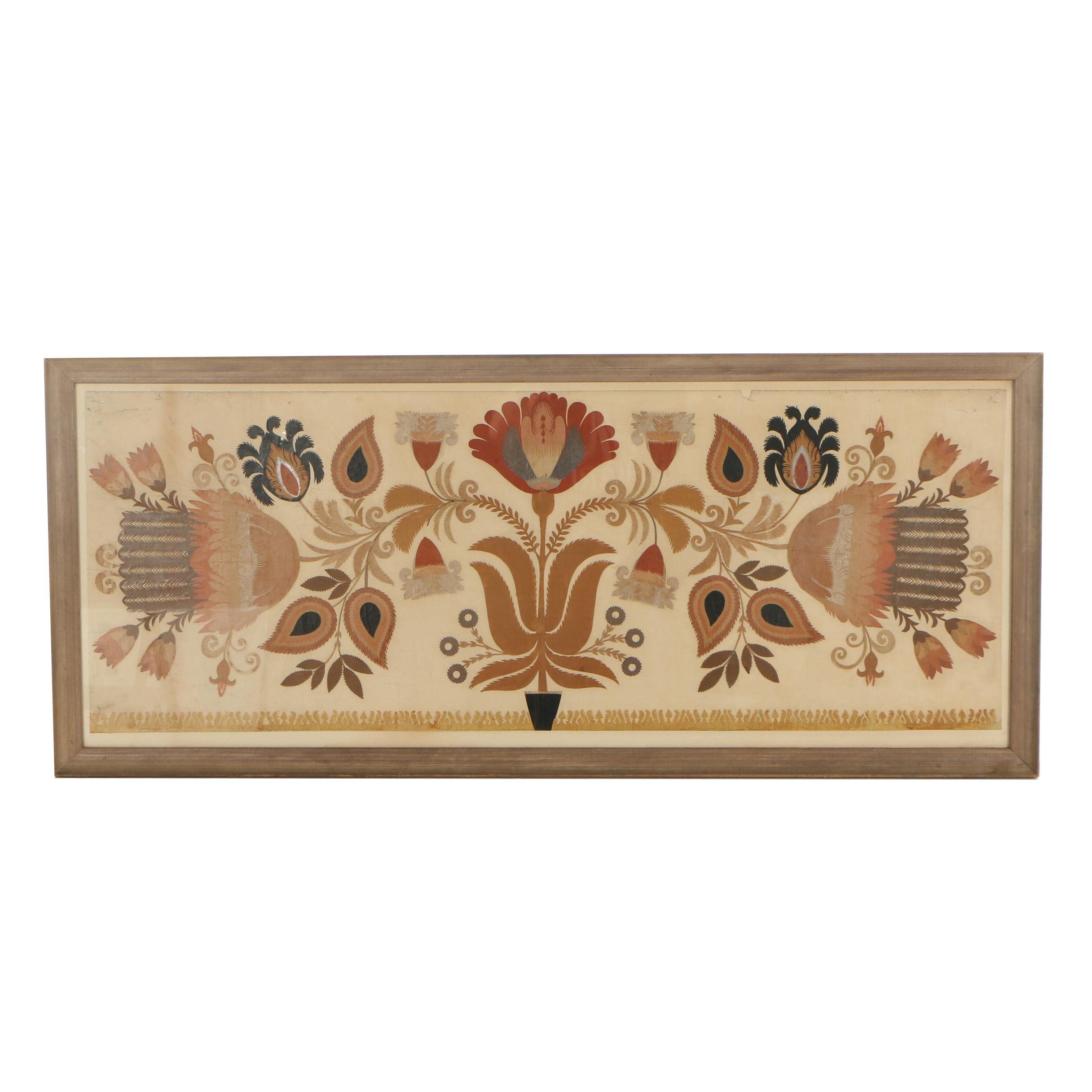 Mid 20th Century Scherenschnitte Floral Composition