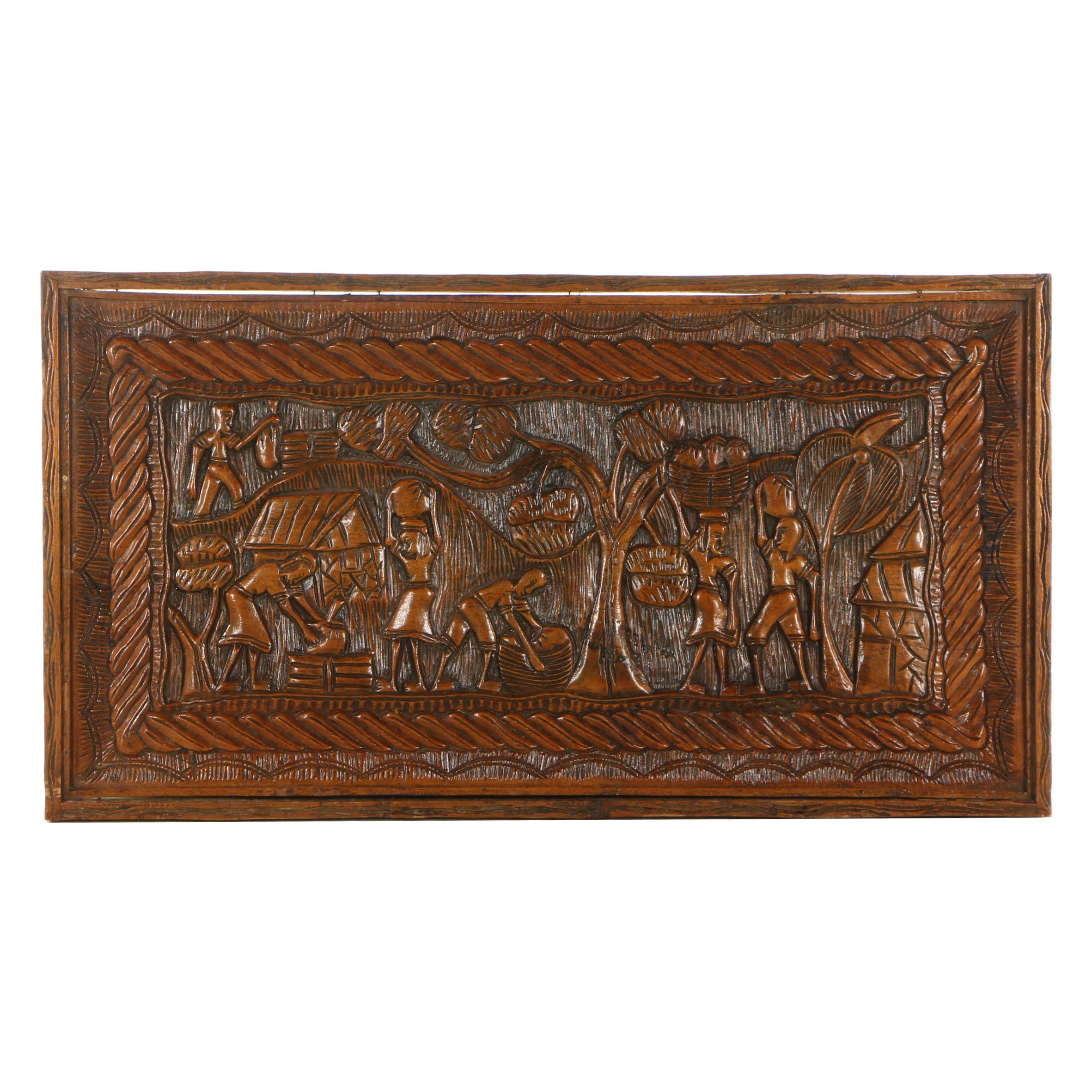 Hand-Carved Haitian Style Wood Relief