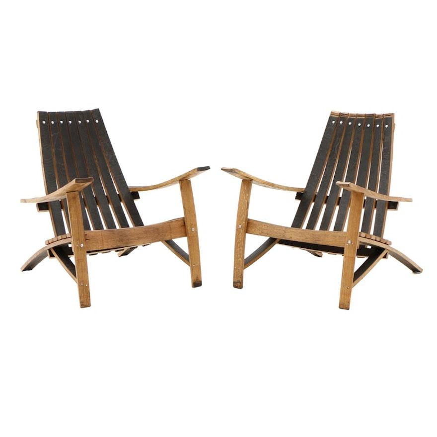 Pleasing Pair Of Bourbon Barrel White Oak Adirondack Chairs Creativecarmelina Interior Chair Design Creativecarmelinacom