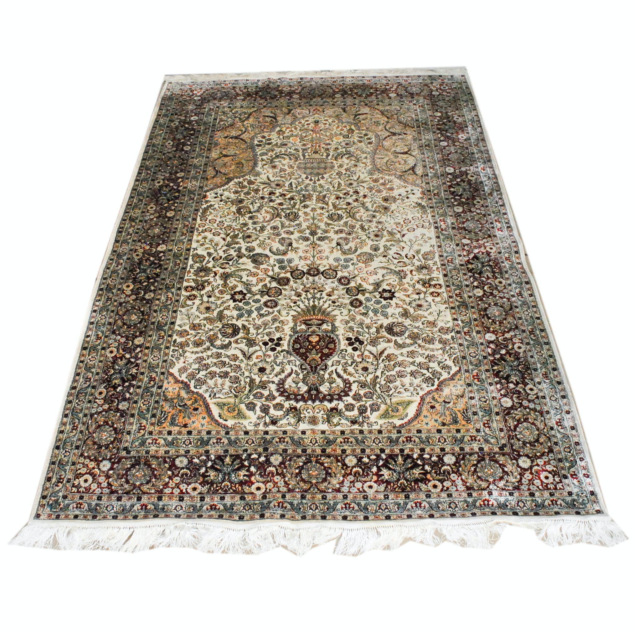 Finely Hand-Knotted Indian Kashmir Wool and Silk Blend Rug in Goldani Style