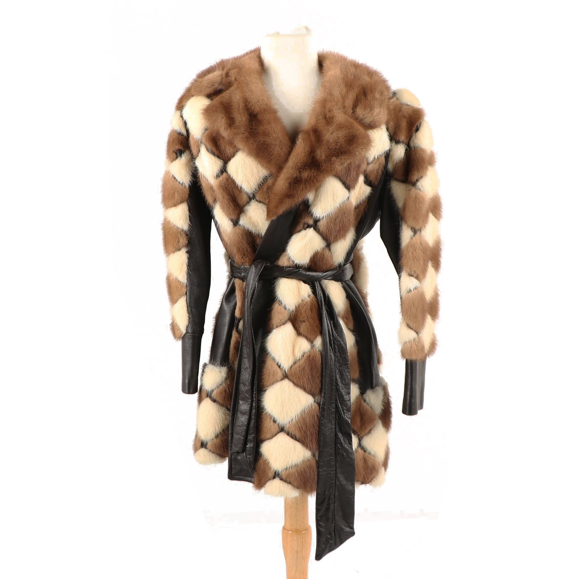 Vintage Diamond Pattern Plasha and Platinum Mink Fur and Leather Coat