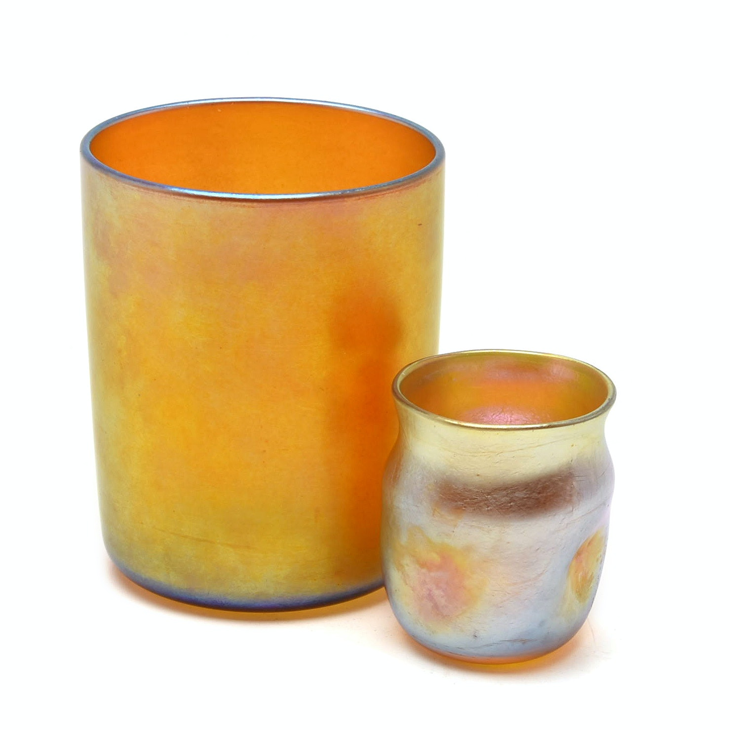 Tiffany Studios Favrile Glass Cup and Cordial