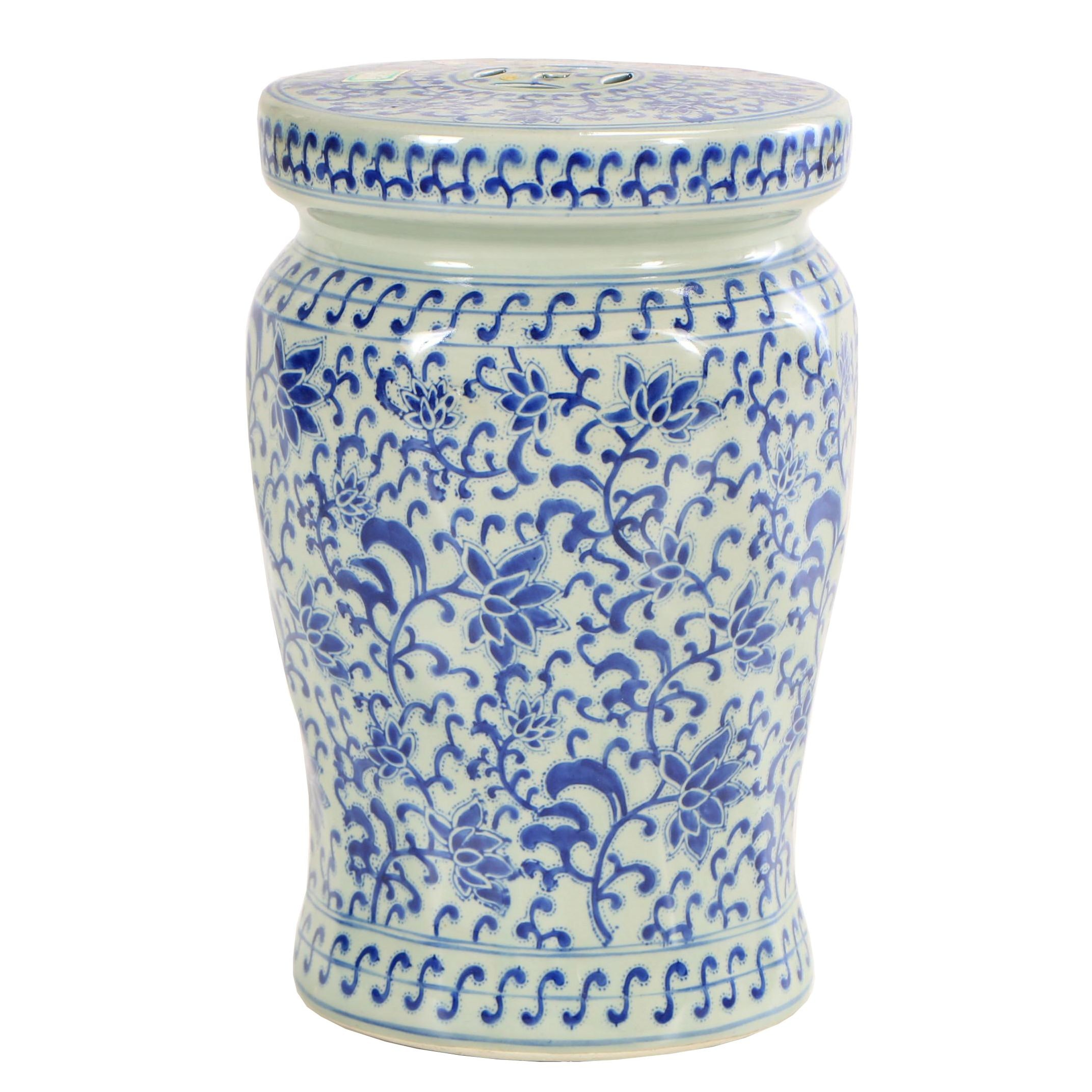 Contemporary Chinese Blue and White Lotus Flower Motif Ceramic Garden Stool
