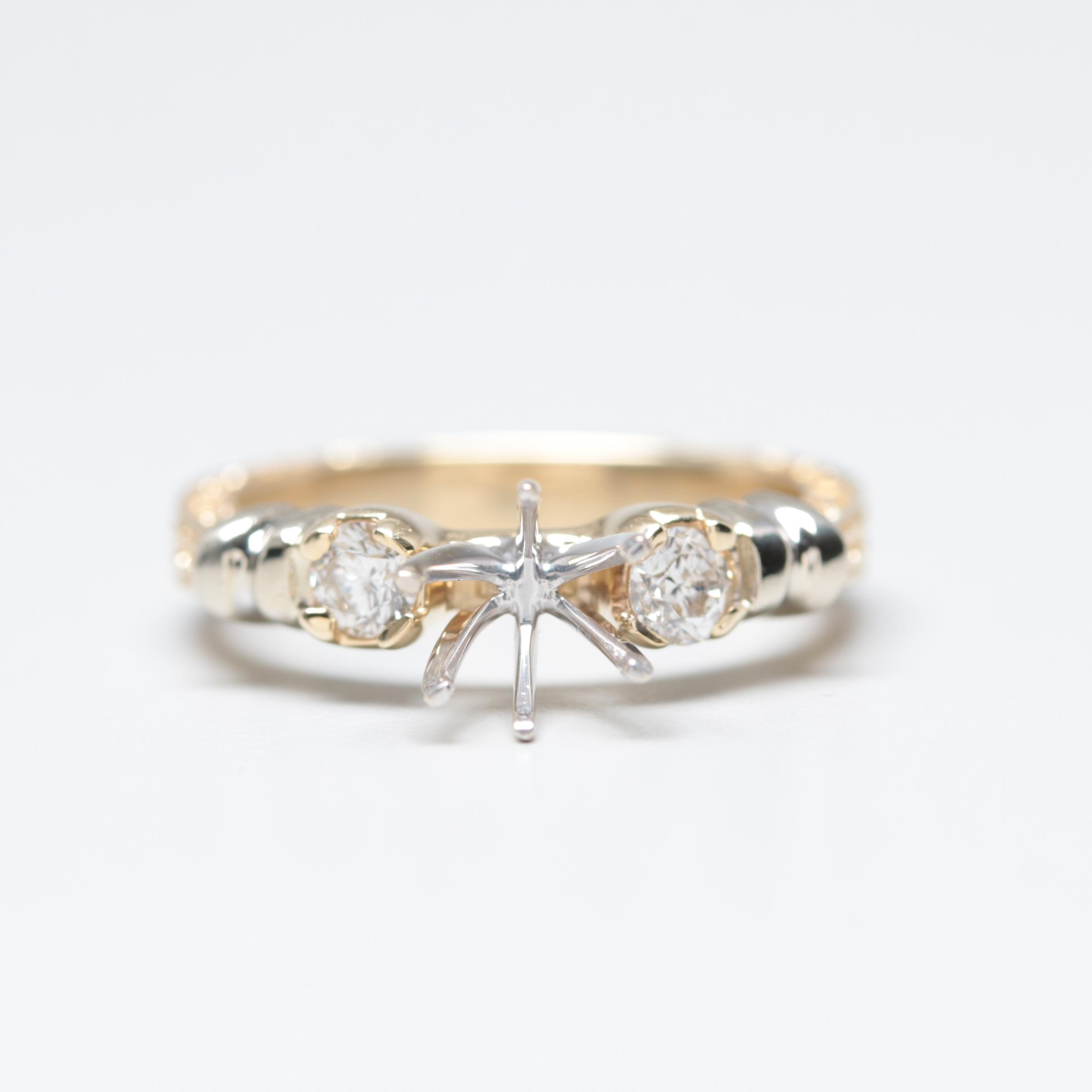 14K Yellow and White Gold Diamond Semi-Mount Ring