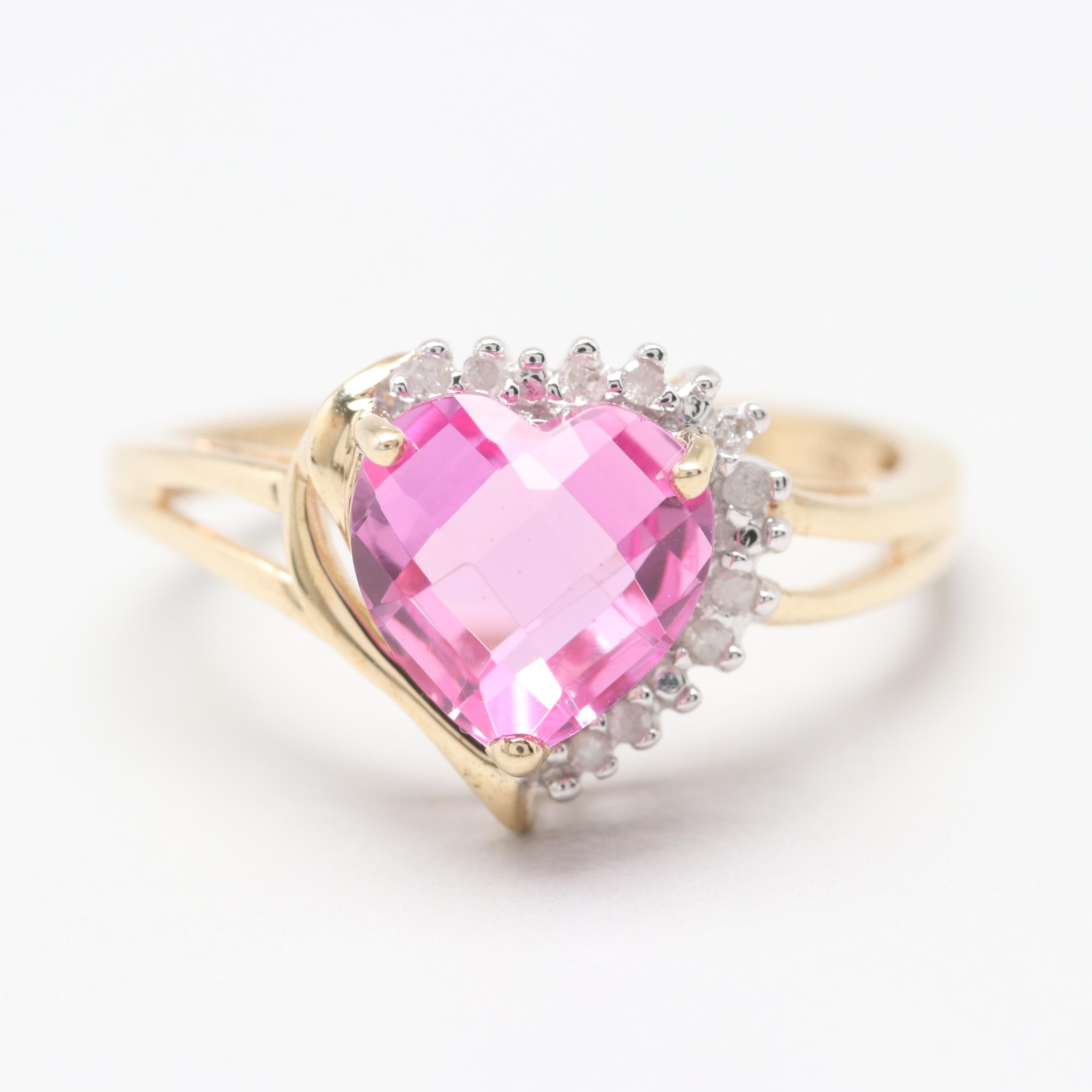 10K Yellow Gold Synthetic Pink Sapphire and Diamond Heart Ring