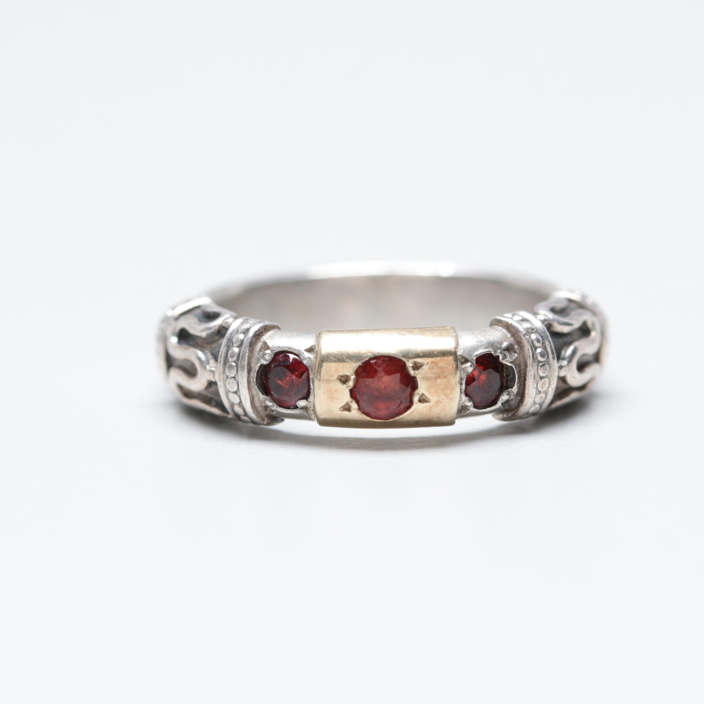 Sterling Silver Garnet Ring with Gold Wash Accent