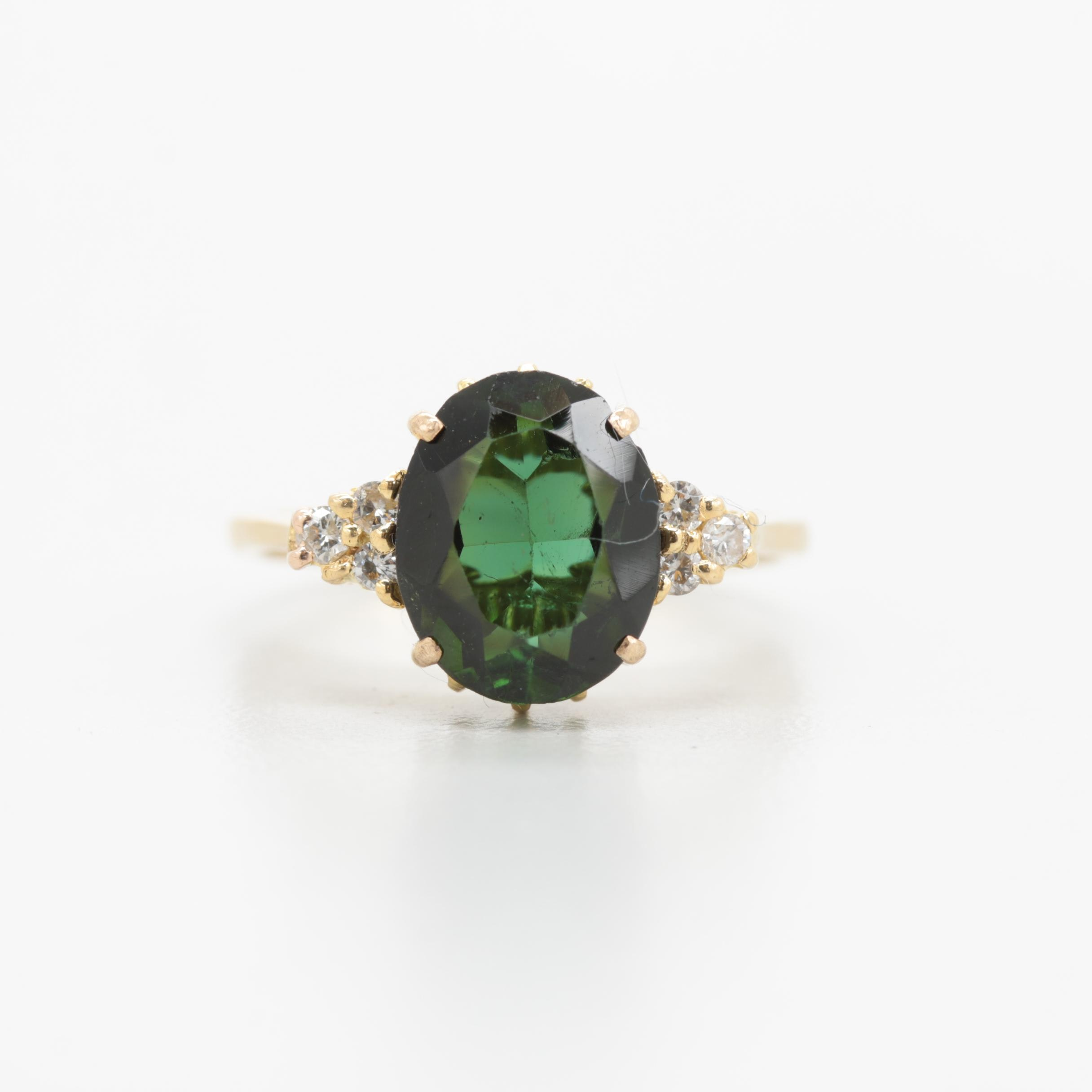18K Yellow Gold Green Tourmaline and Diamond Ring