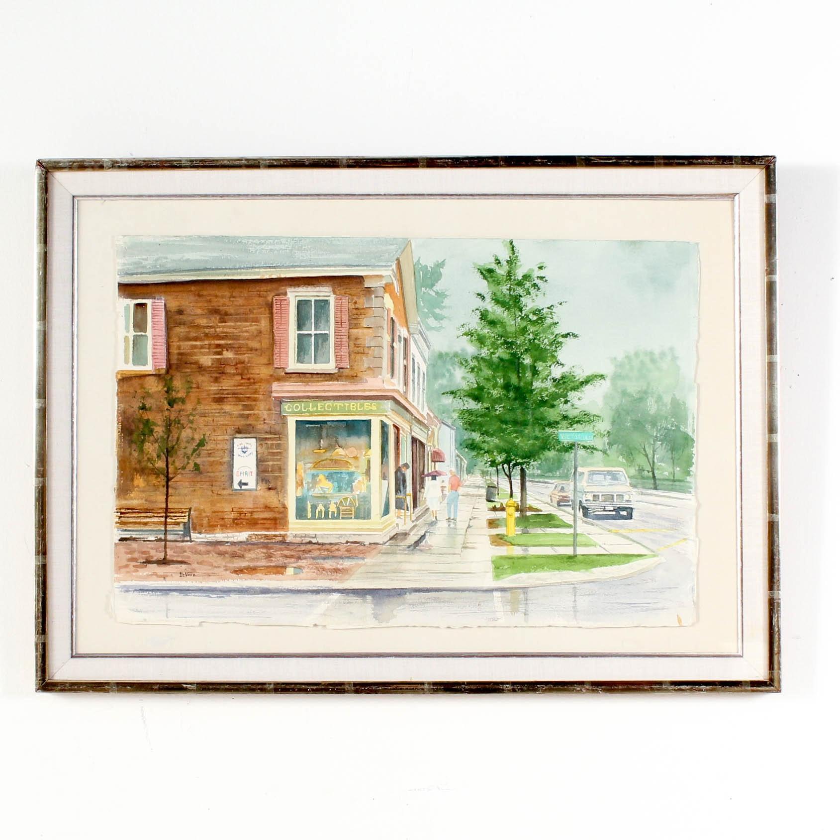 James DeVore Watercolor Street Scene