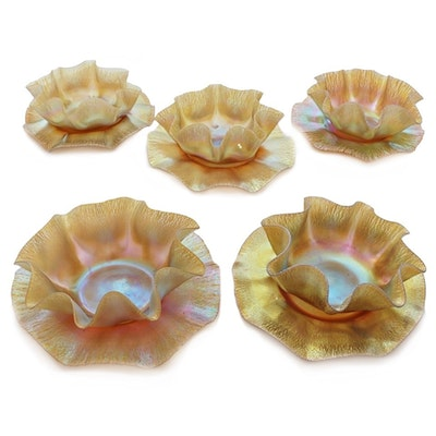 Set of Five Tiffany Studios Favrile Glass Finger Bowls and Underplates