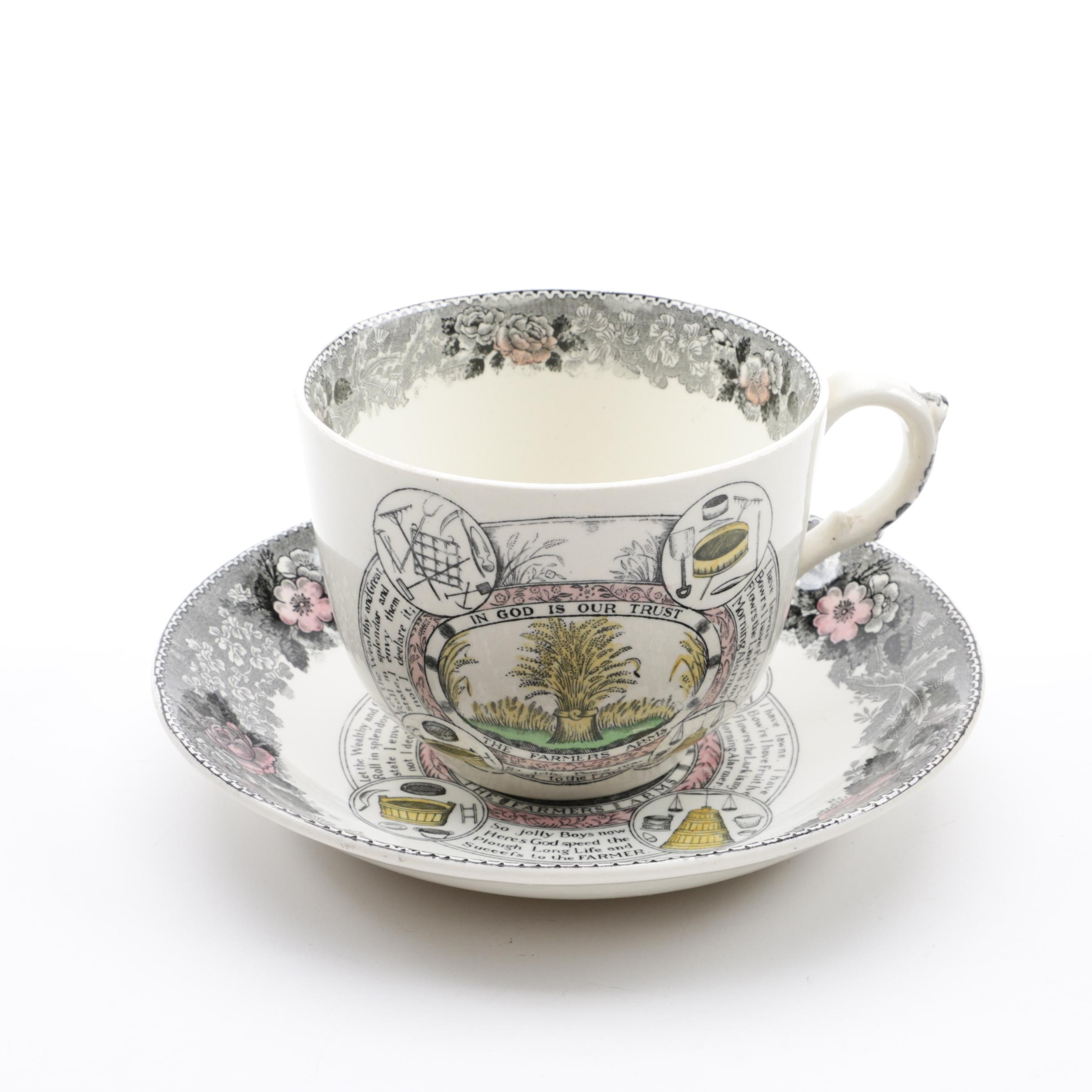 "Adams ""Farmers Arms"" Cup and Saucer Set"