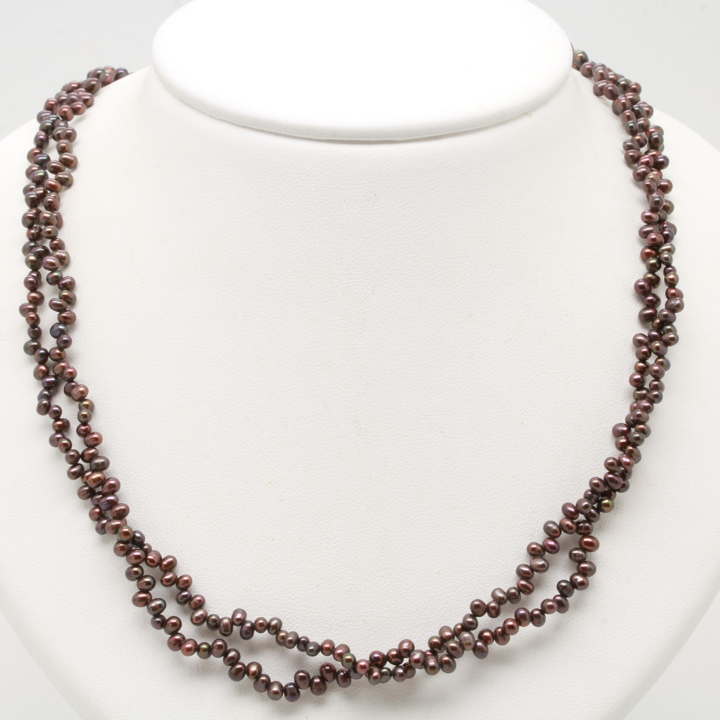 Gold Tone Cultured Pearl Double Stranded Necklace