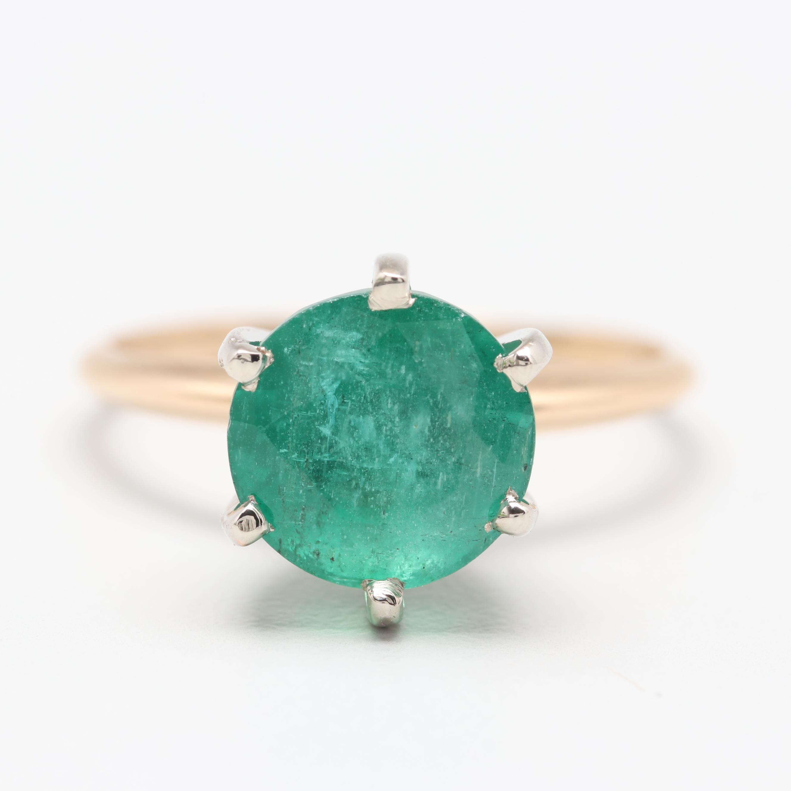 14K Yellow Gold 3.37 CT Emerald Ring