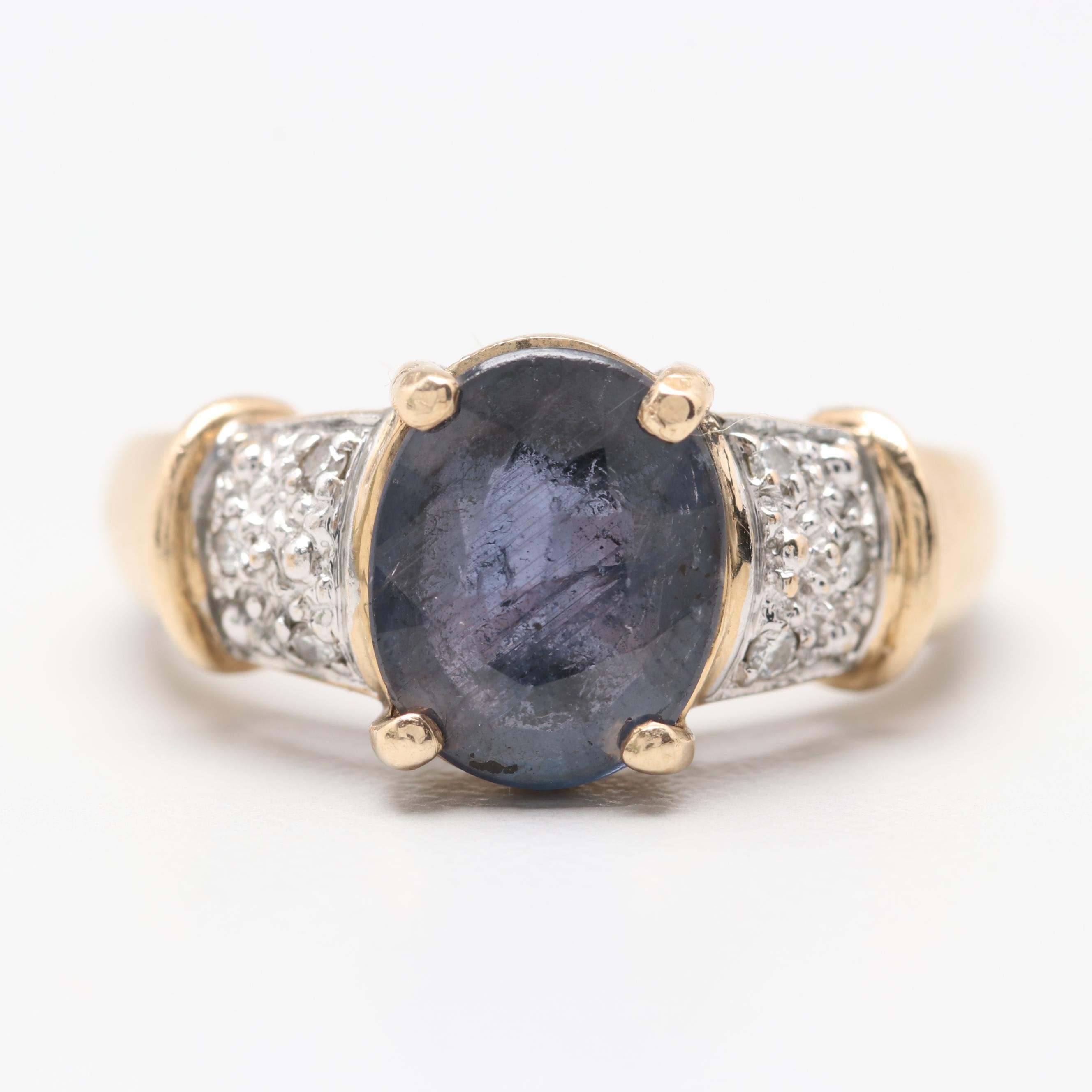 10K Yellow Gold Unheated 2.06 CT Color Change Sapphire and Diamond Ring