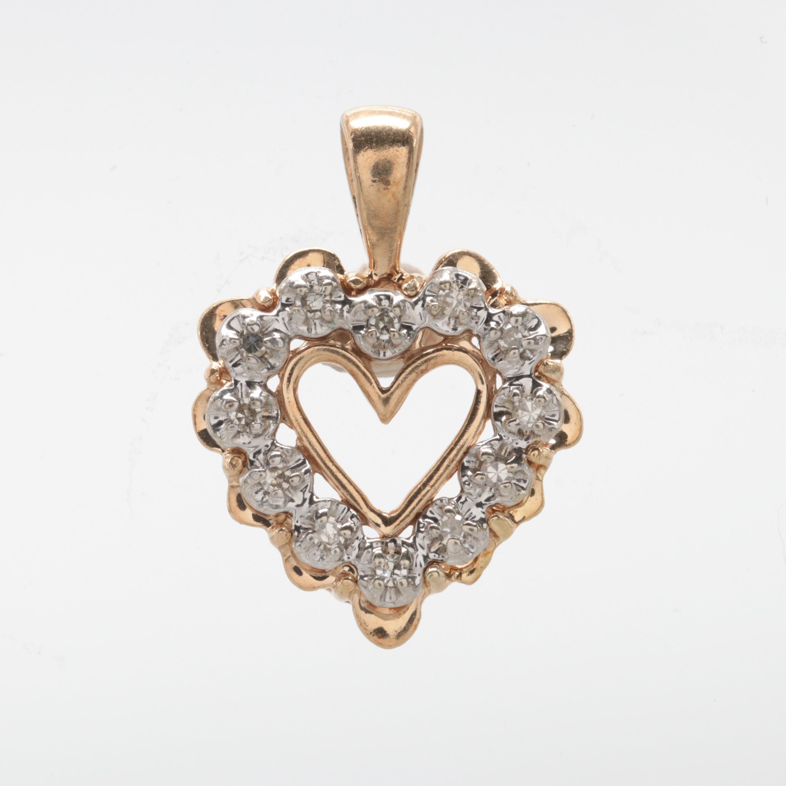 10K Yellow Gold Diamond Heart Pendant