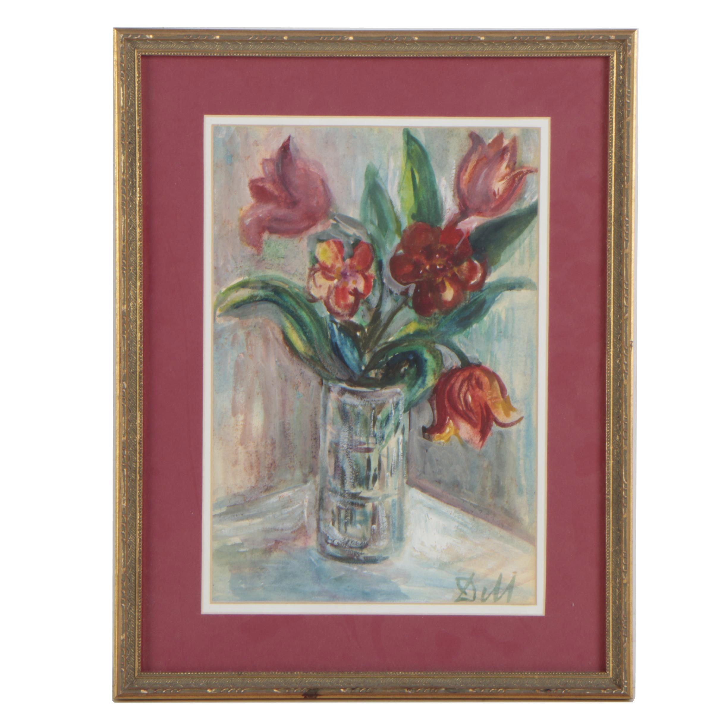 Contemporary Watercolor and Gouache Still Life Painting