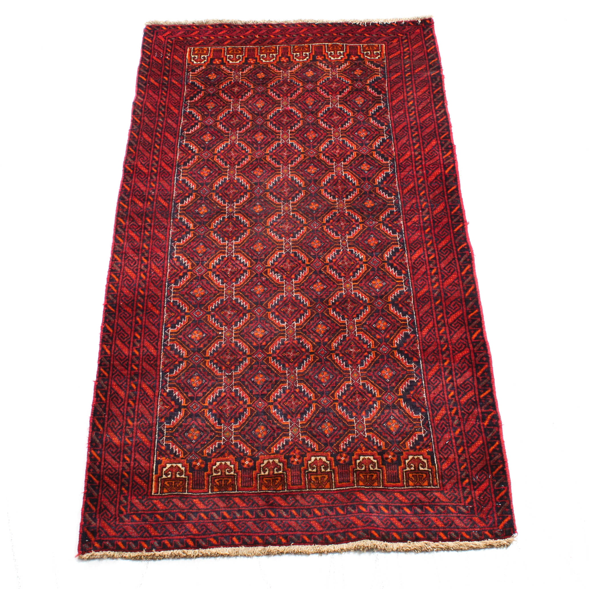 Vintage Hand-Knotted Persian Turkeman Rug
