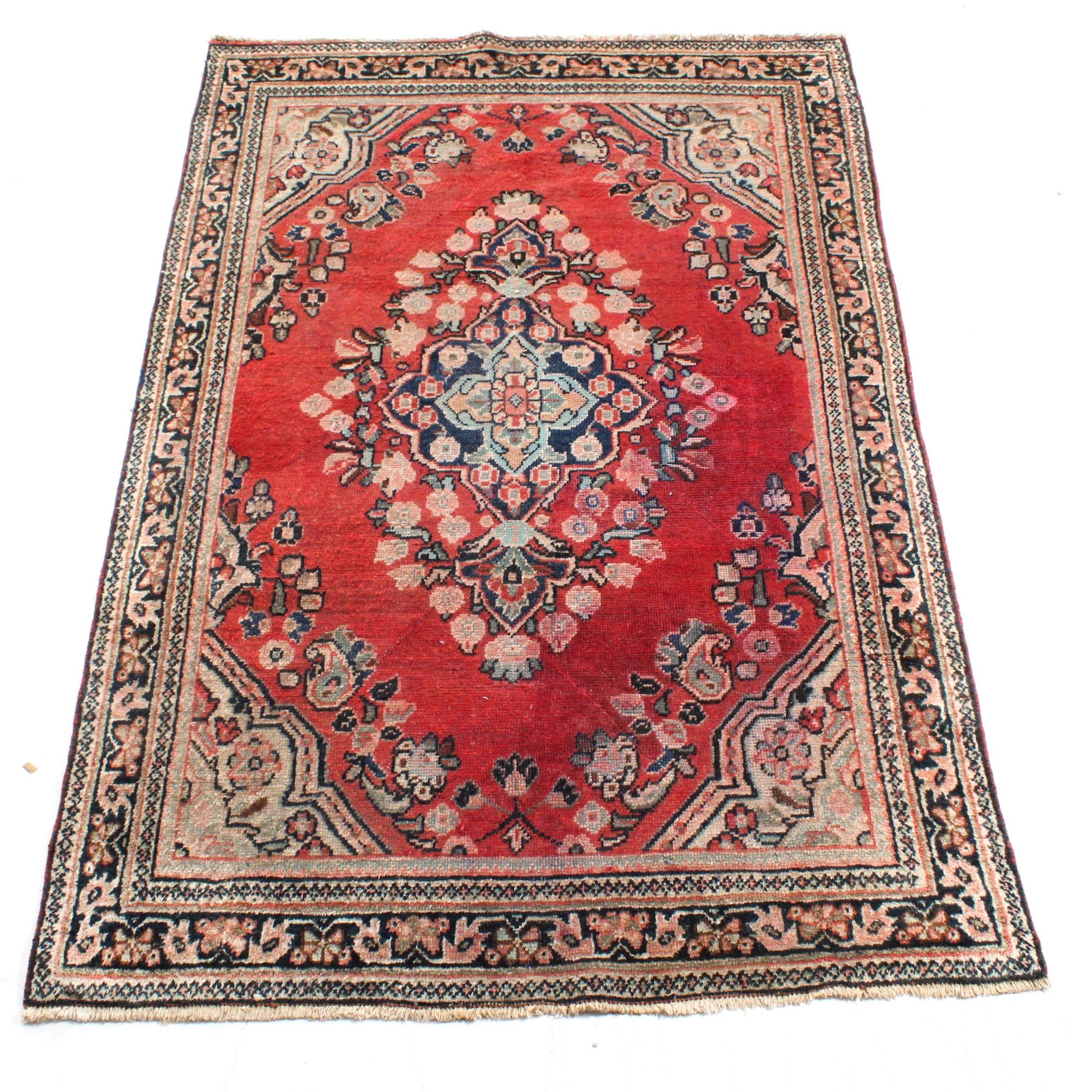 Vintage Hand-Knotted Persian Mahal Sarouk Rug
