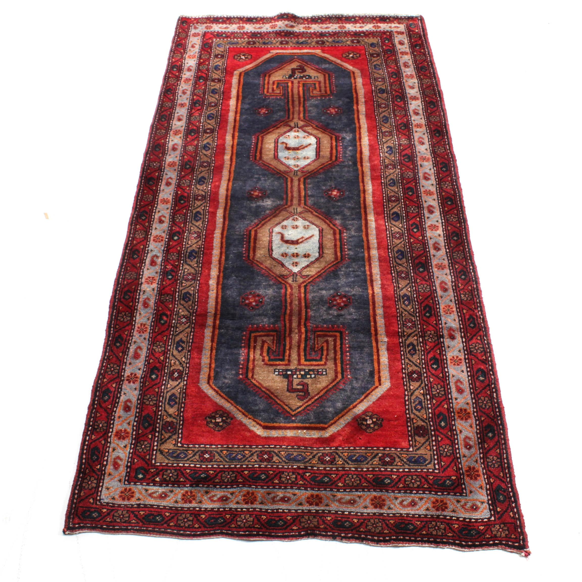 Vintage Hand-Knotted Persian Bijar Rug