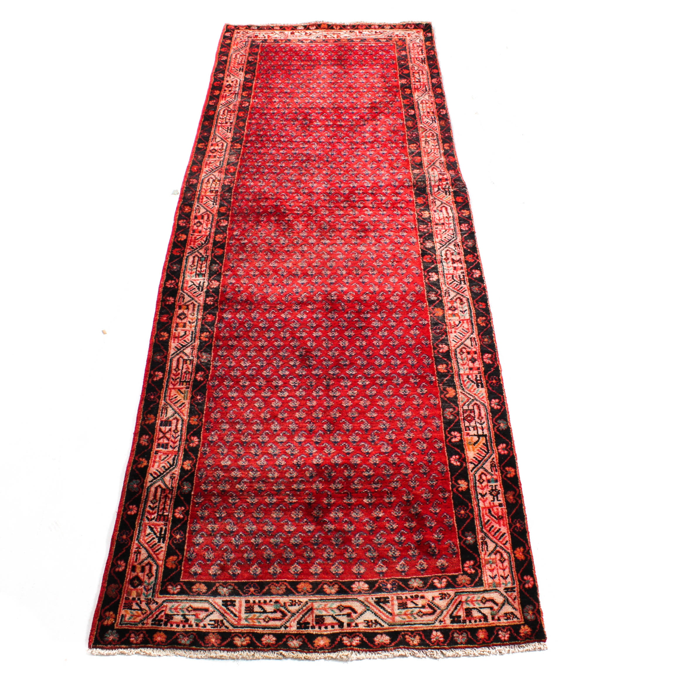 Vintage Hand-Knotted Persian Boteh Sarouk Rug Runner