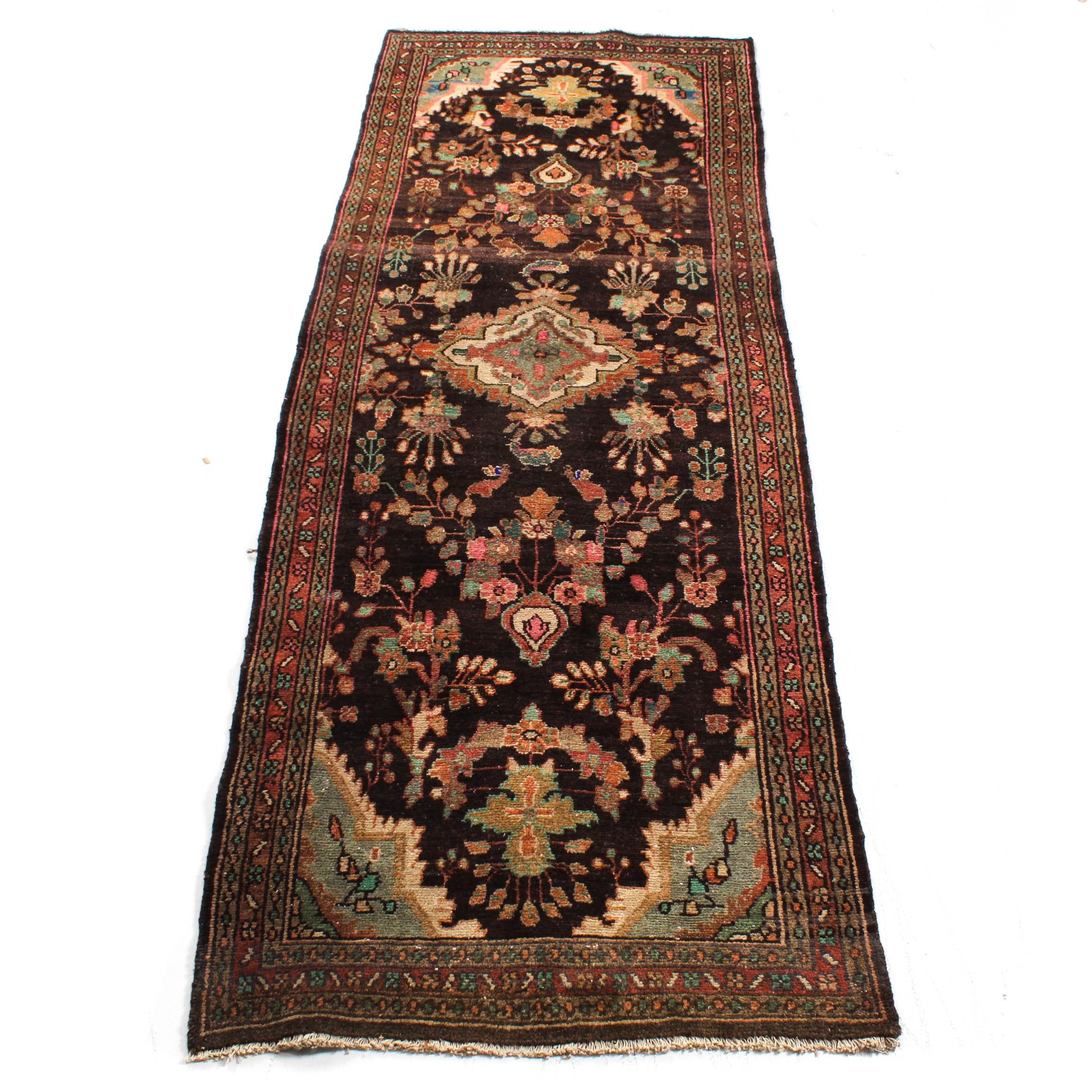 Vintage Hand-Knotted Persian Mahal Sarouk Rug Runner