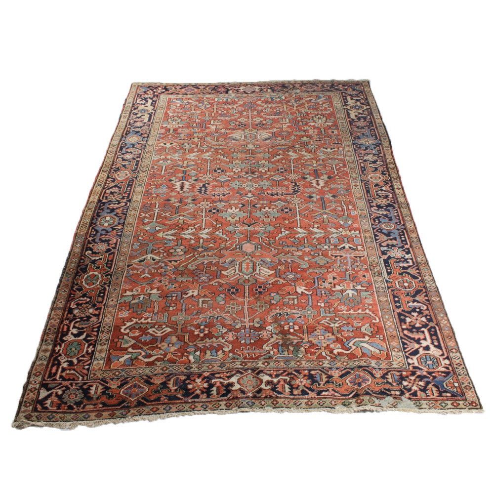 Circa 1920s Hand-Knotted Persian Heriz Rug