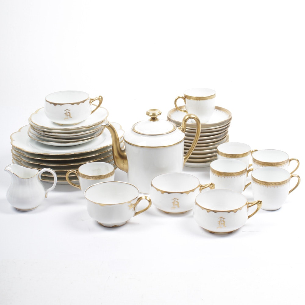 Gold Accented Limoges and Assorted Porcelain Tableware
