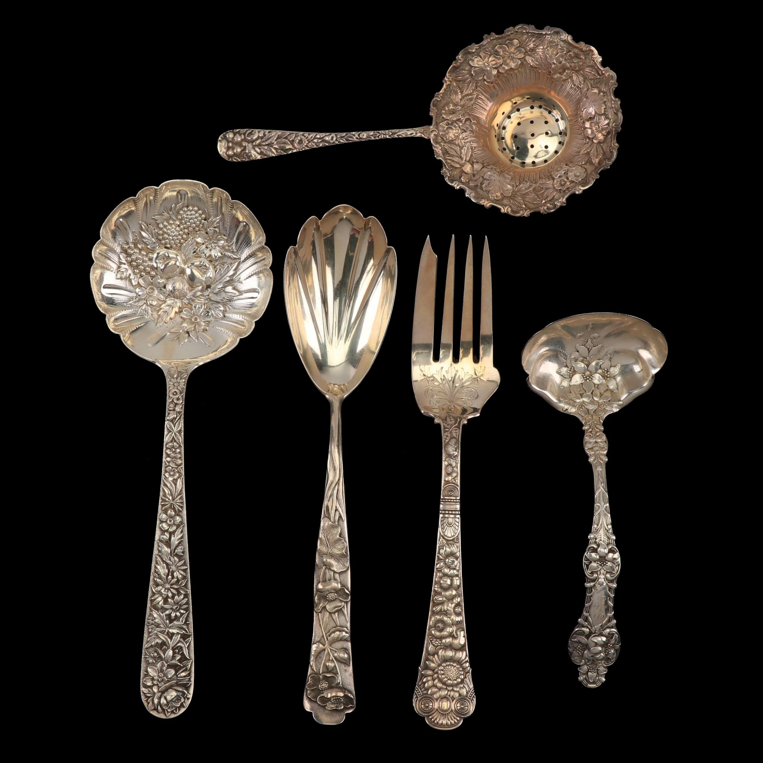"S. Kirk & Son ""Repoussé"" Serving Spoon with Other Sterling Serving Utensils"