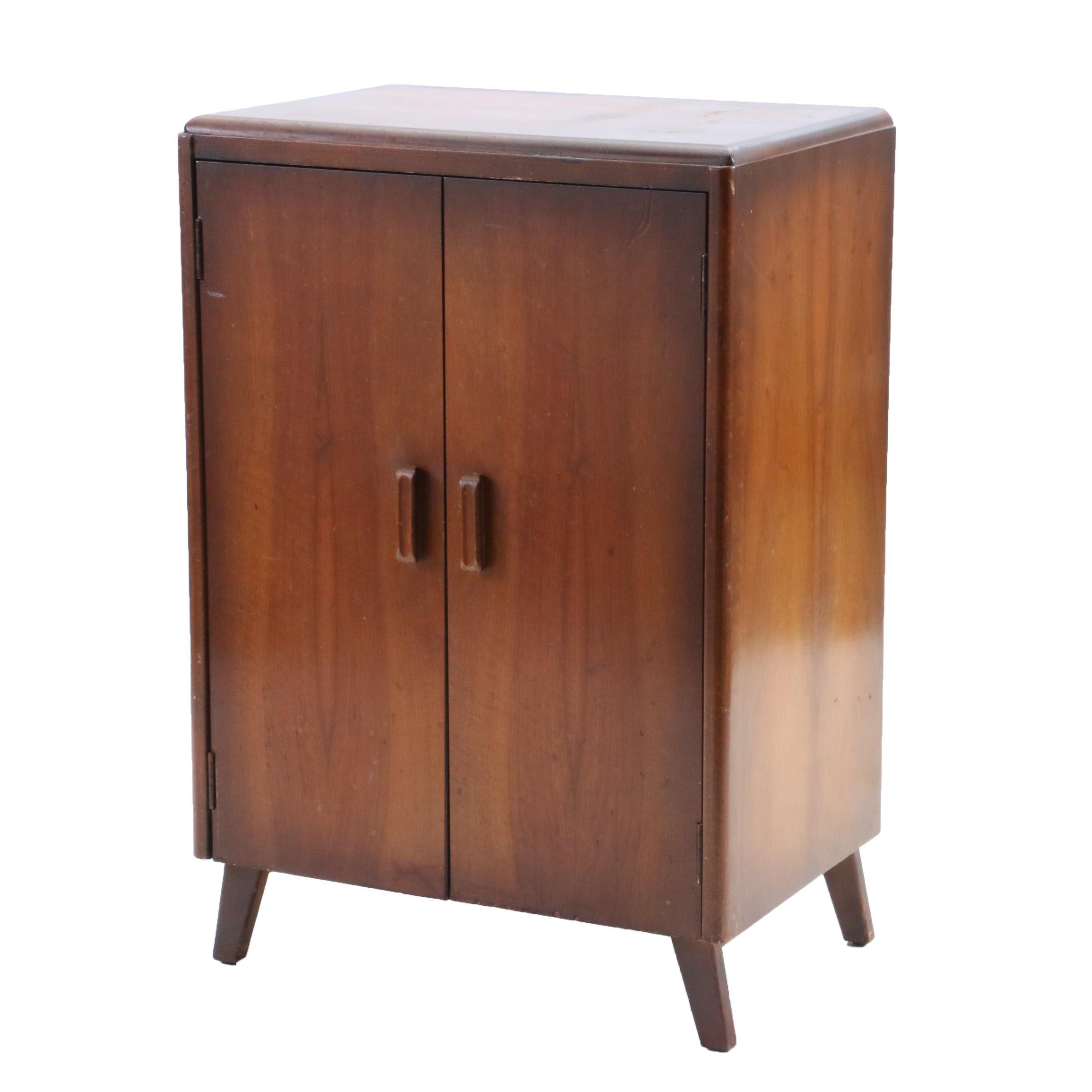 1940s-1950s Walnut Finish Record Storage Cabinet