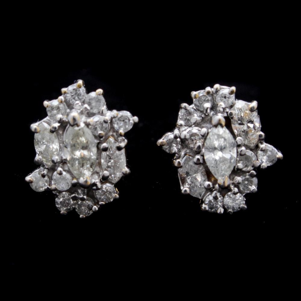 14K Yellow Gold and 1.17 CTW Diamond Earrings
