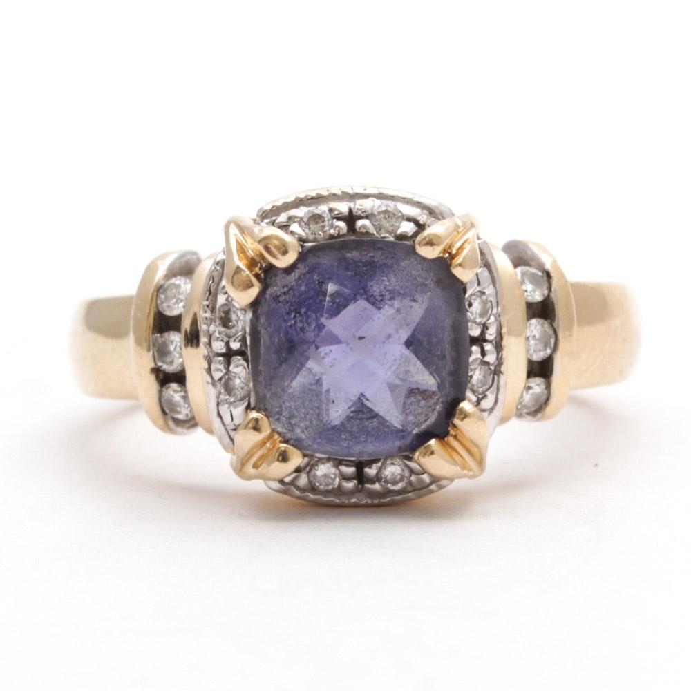 14K Yellow Gold, Amethyst and Diamond Ring