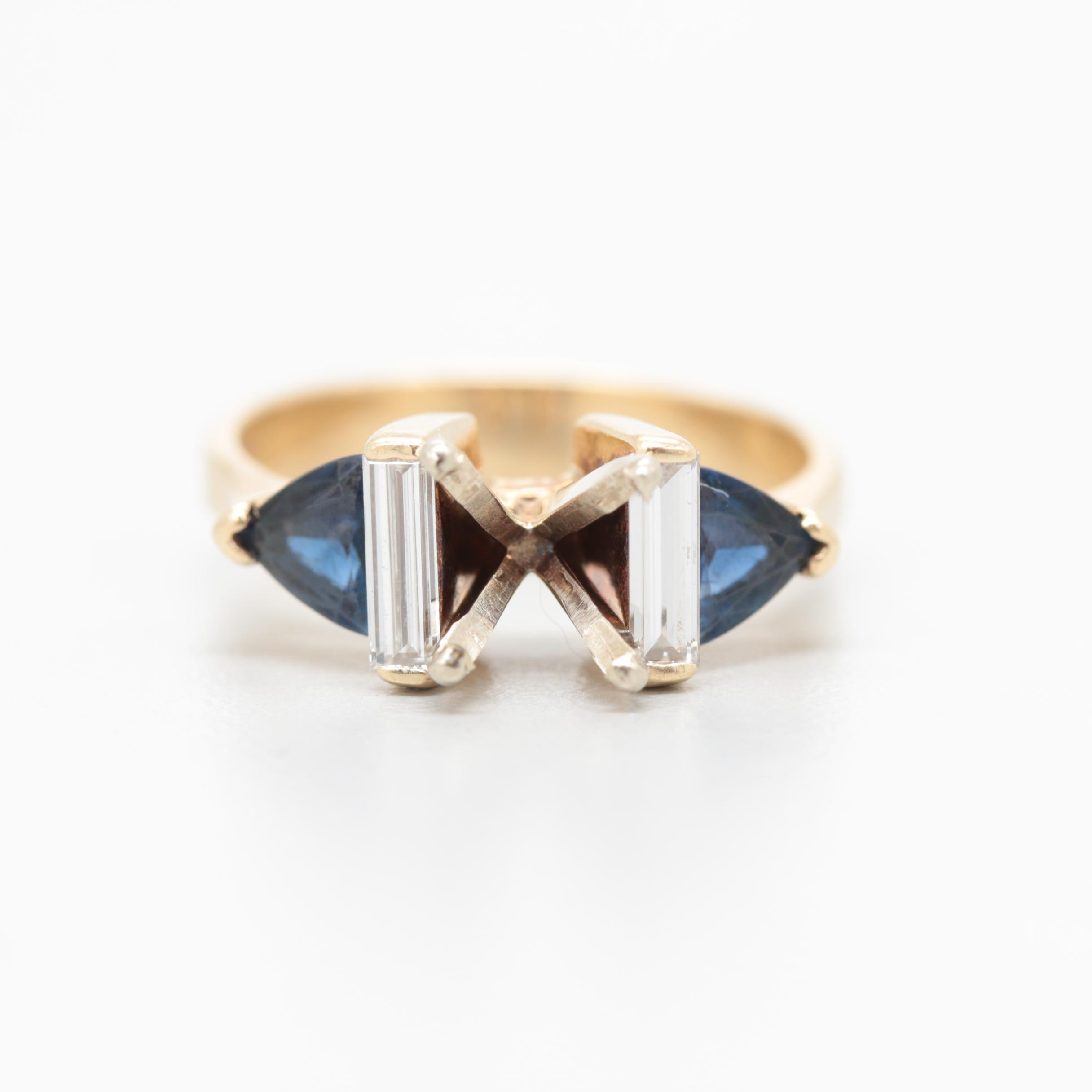 14K Yellow Gold Semi-Mount Ring with Sapphire and Diamonds