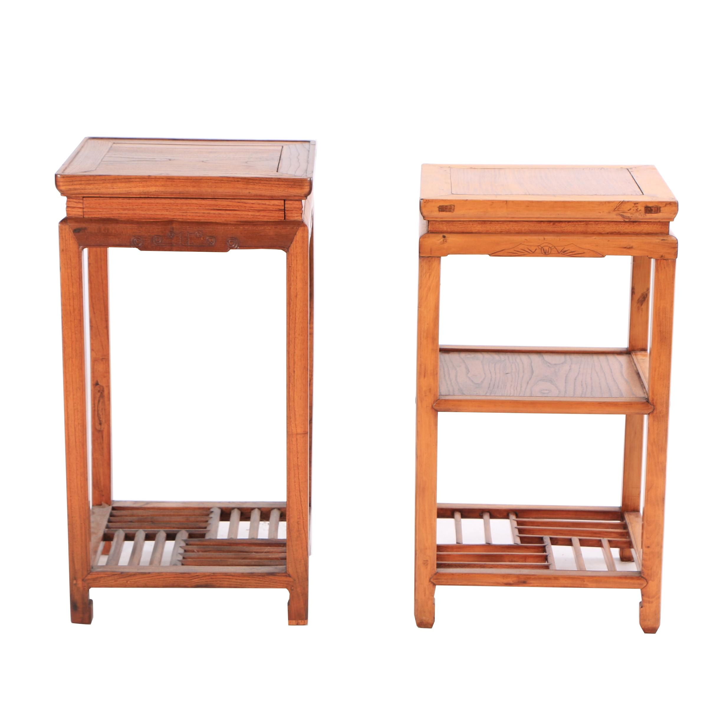 Chinese Mixed Wood Plant Stands, Early 20th Century
