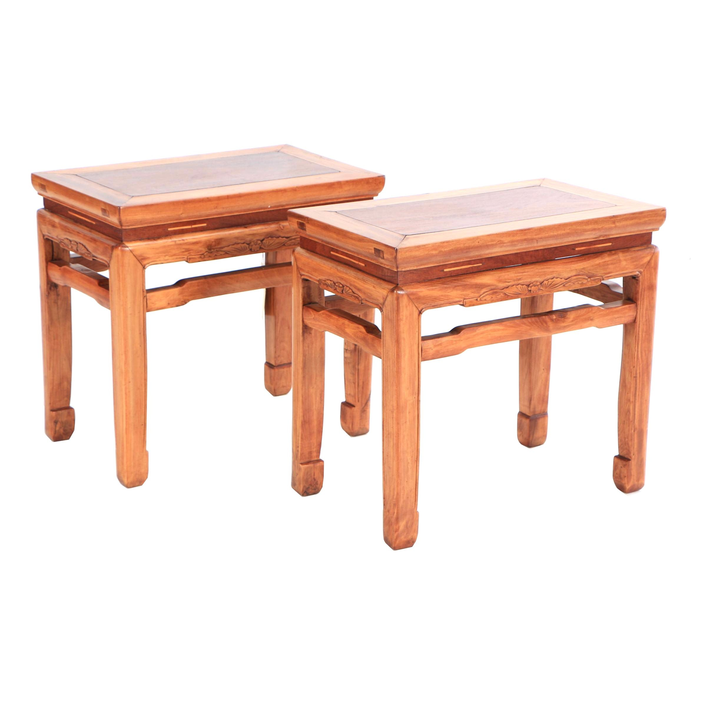 Chinese Mixed Wood Side Tables, Early 20th Century