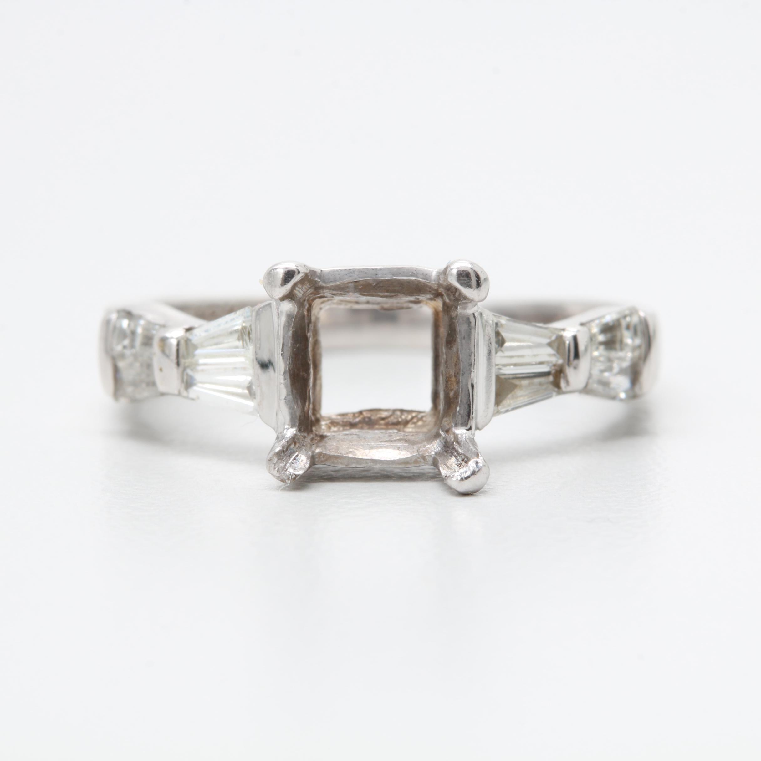 18K White Gold Semi-Mount with Diamonds