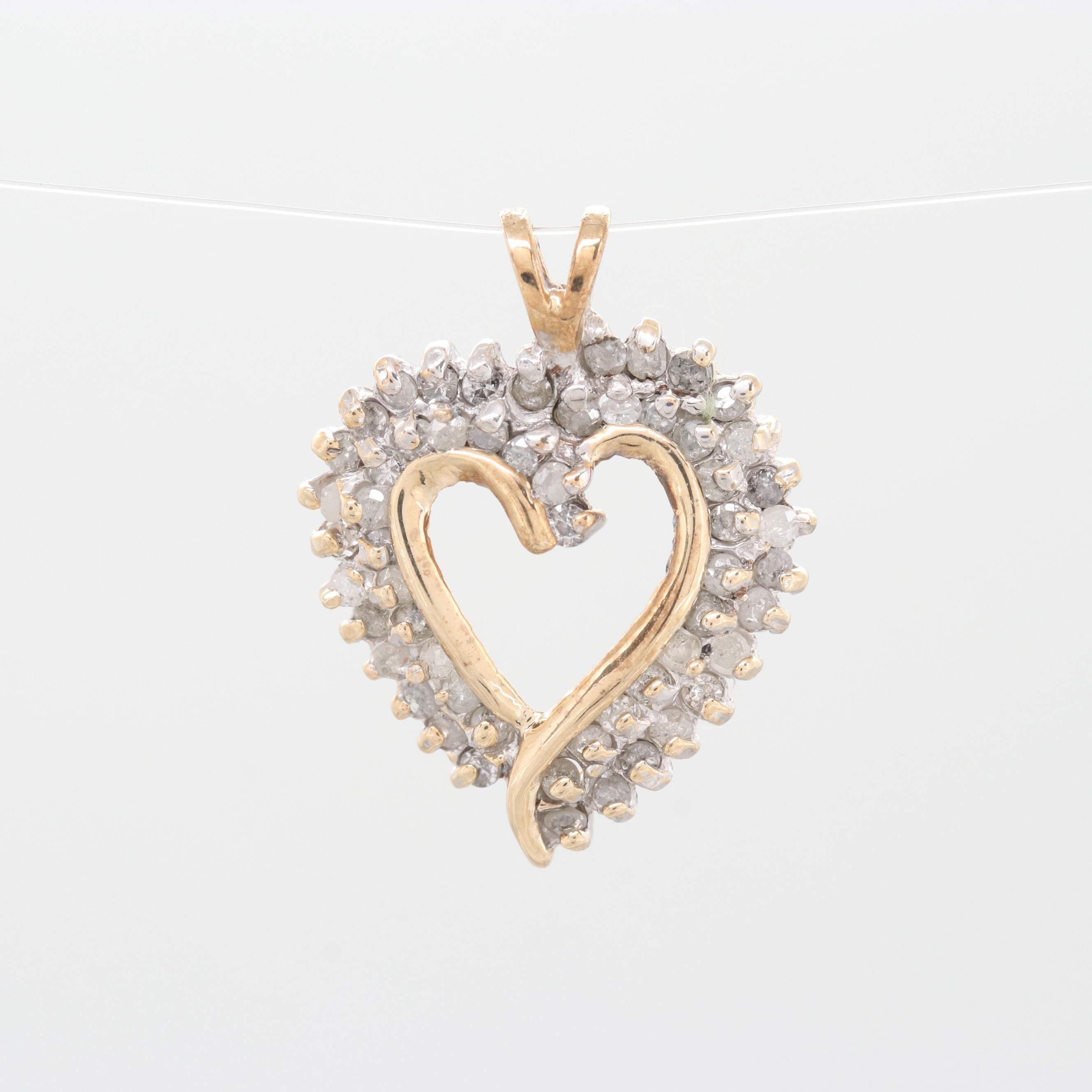 10K Yellow Gold Diamond Open Heart Pendant