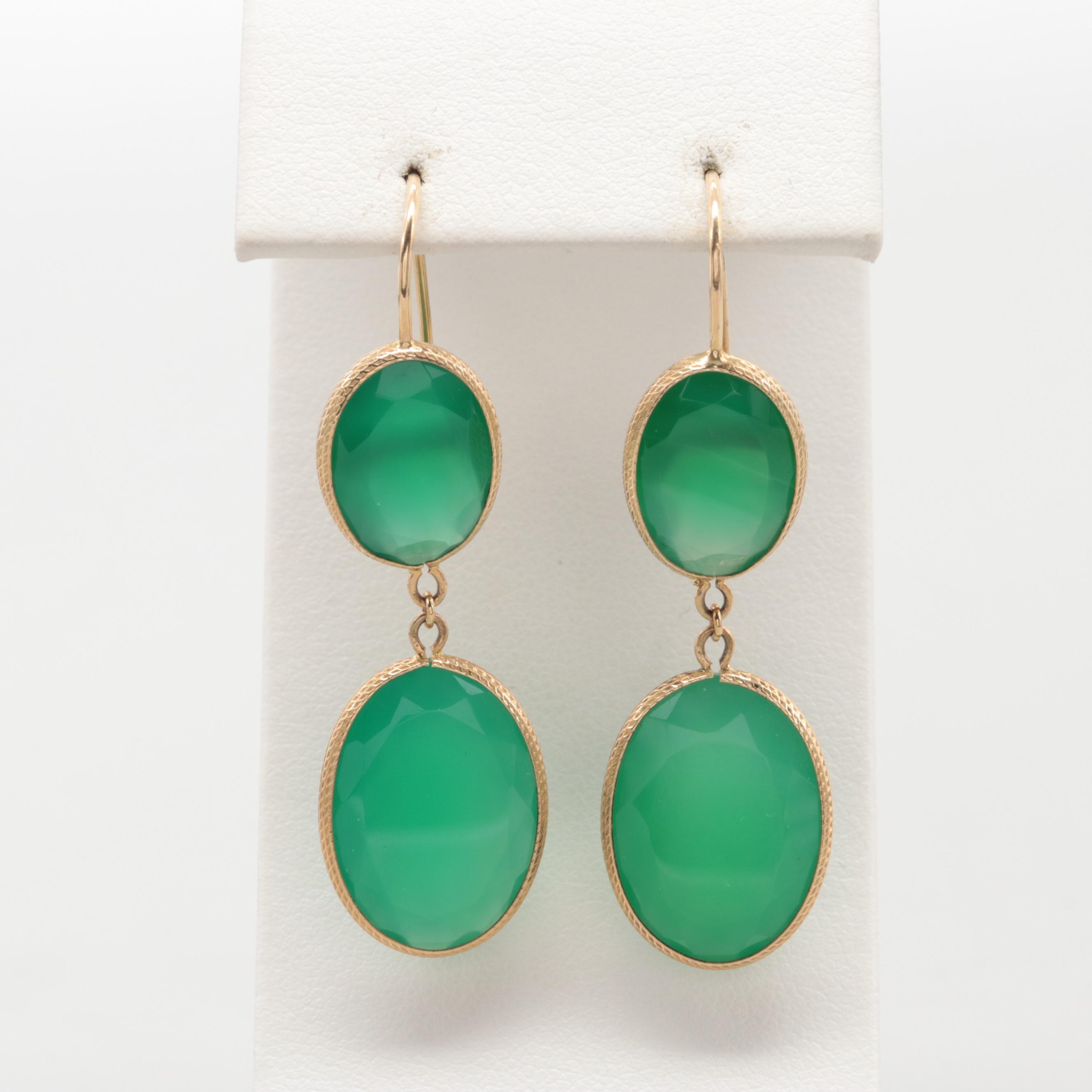 14K Yellow Gold Green Chalcedony Dangle Drop Earrings