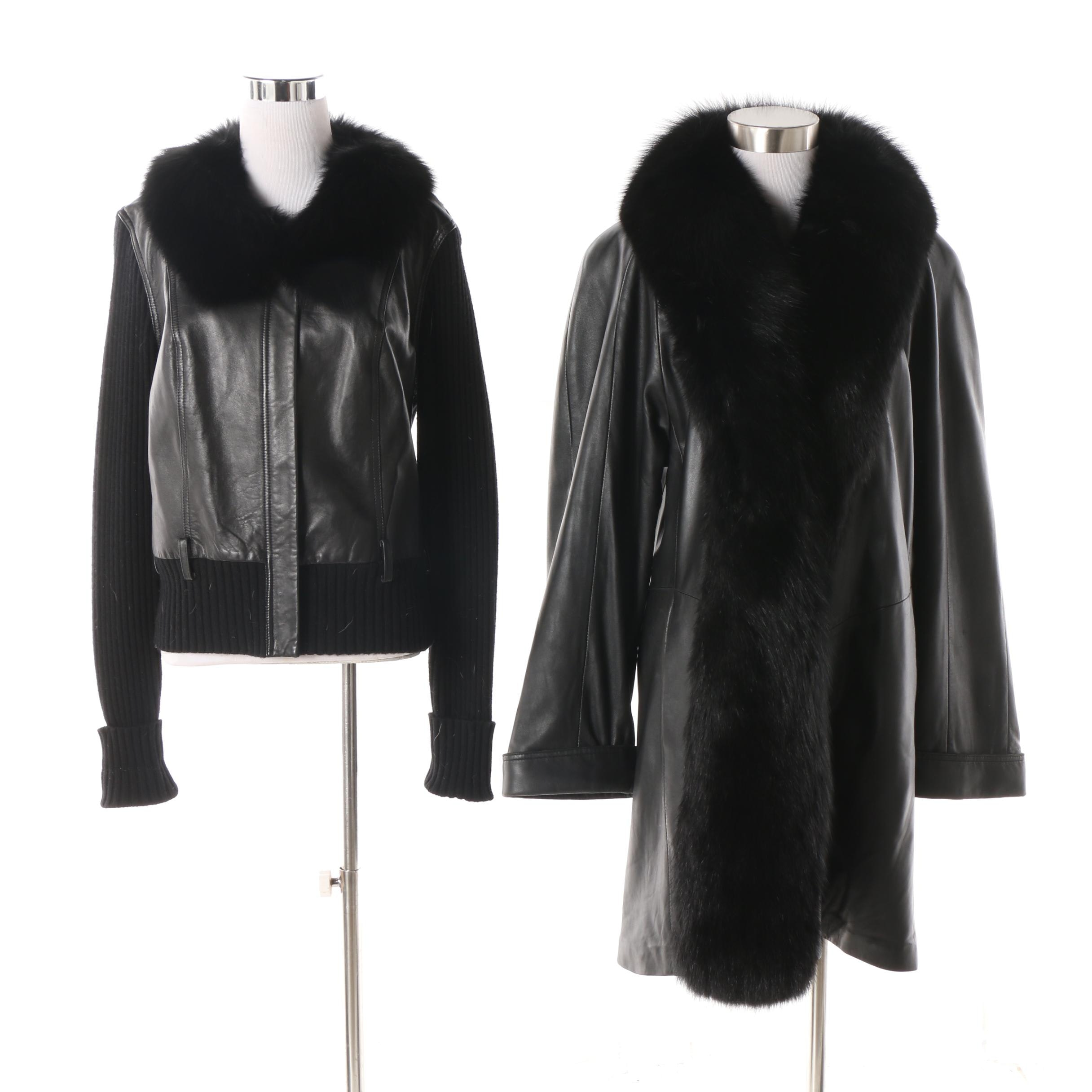 Chosen Leather Coat and Unlabeled Leather Sweater Jacket with Fox Fur Collars