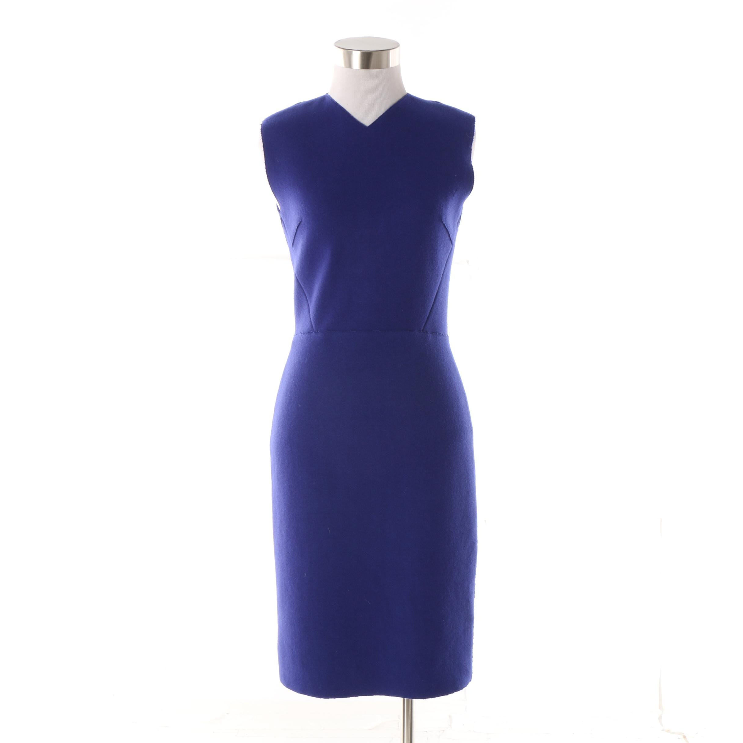 Victoria Beckham Dress No. 284 Royal Blue Wool Sheath Dress