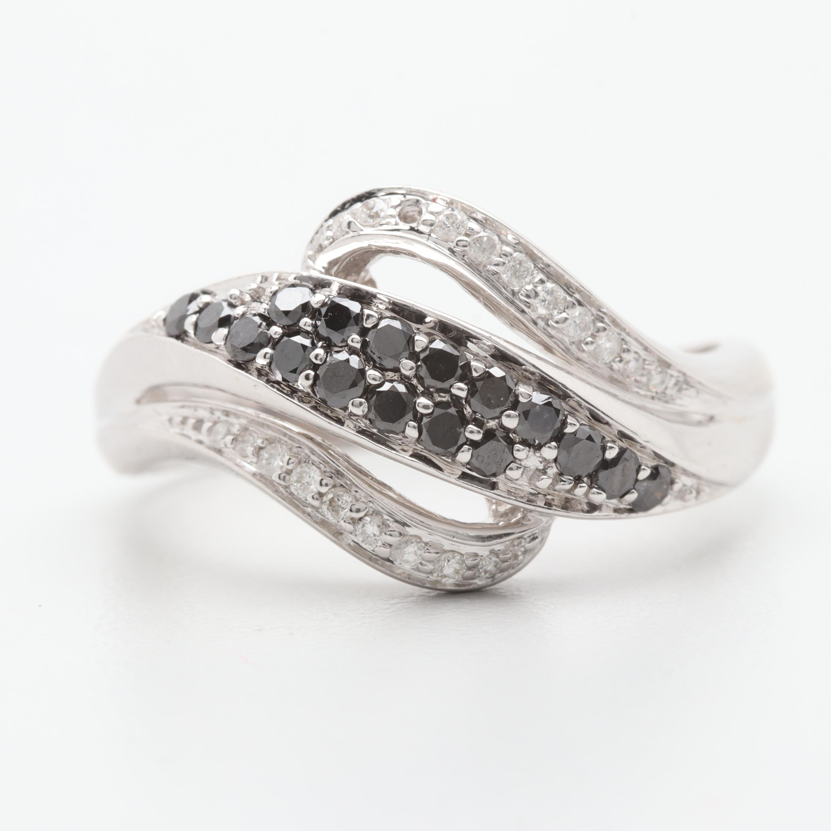 14K White Gold Diamond Ring Including Irradiated Black Diamonds