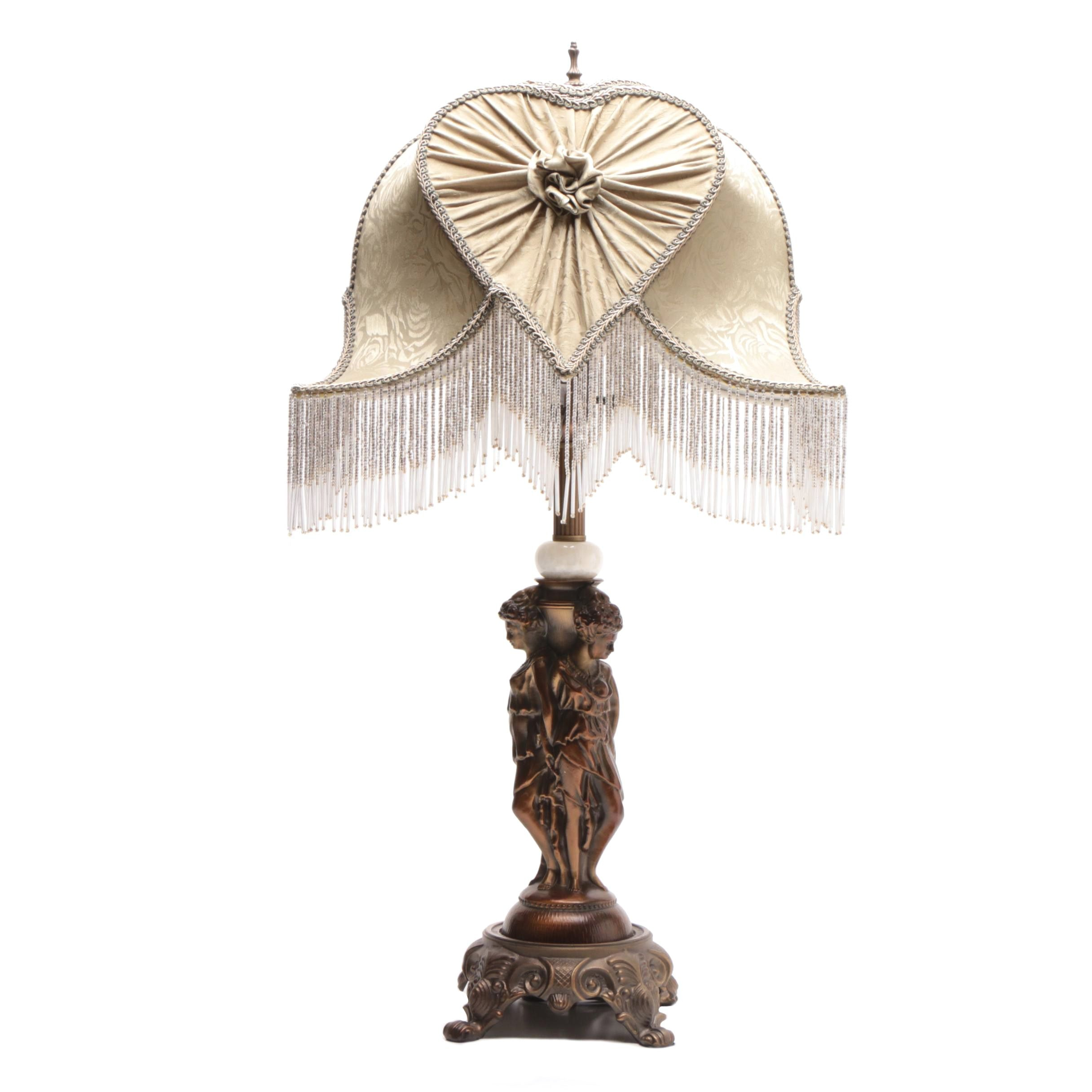 Dale Tiffany Table Lamp With Jacquard Beaded Fringe Shade