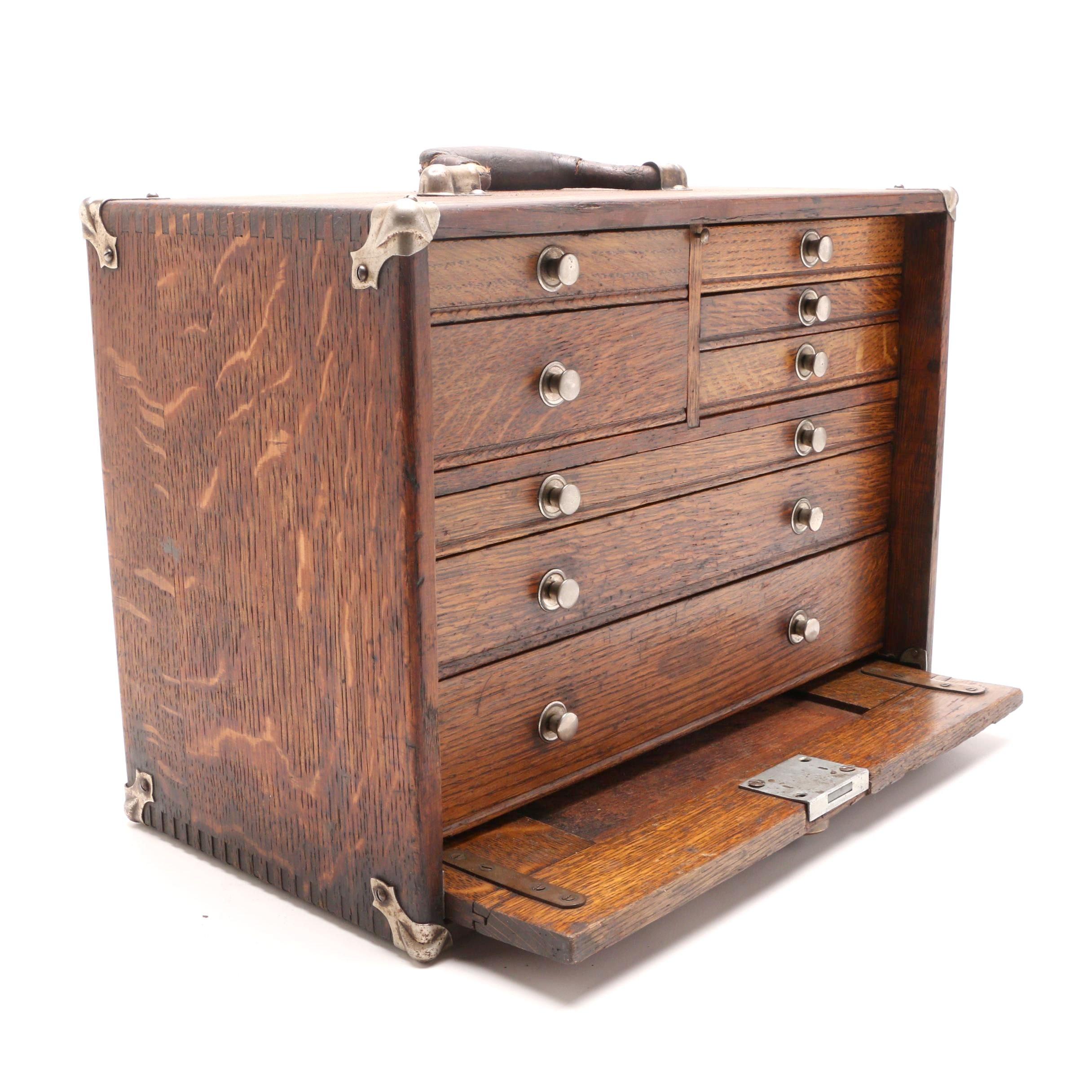 """1930-1940s """"Gerstner"""" Oak Machinist Tool Chest"""