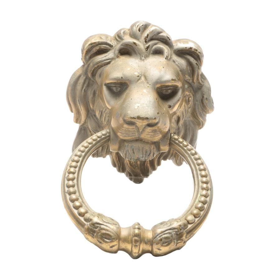 Vintage Brass Figural Lion Head Door Knocker