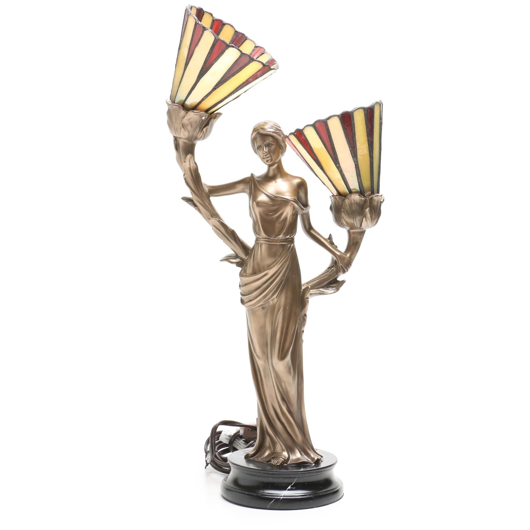 Art Nouveau Figural Table Lamp with Stained Glass Shades