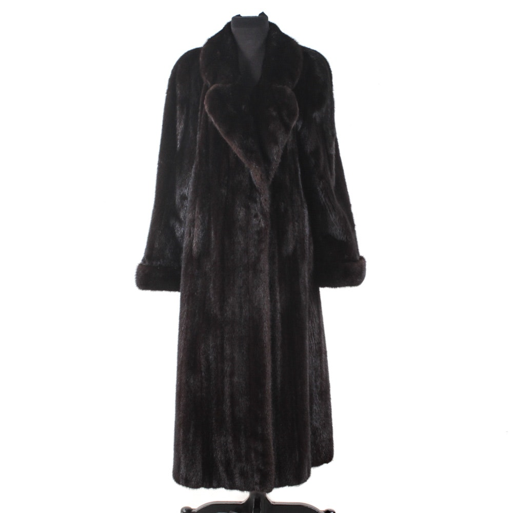 Dark Mahogany Mink Fur Full-Length Coat