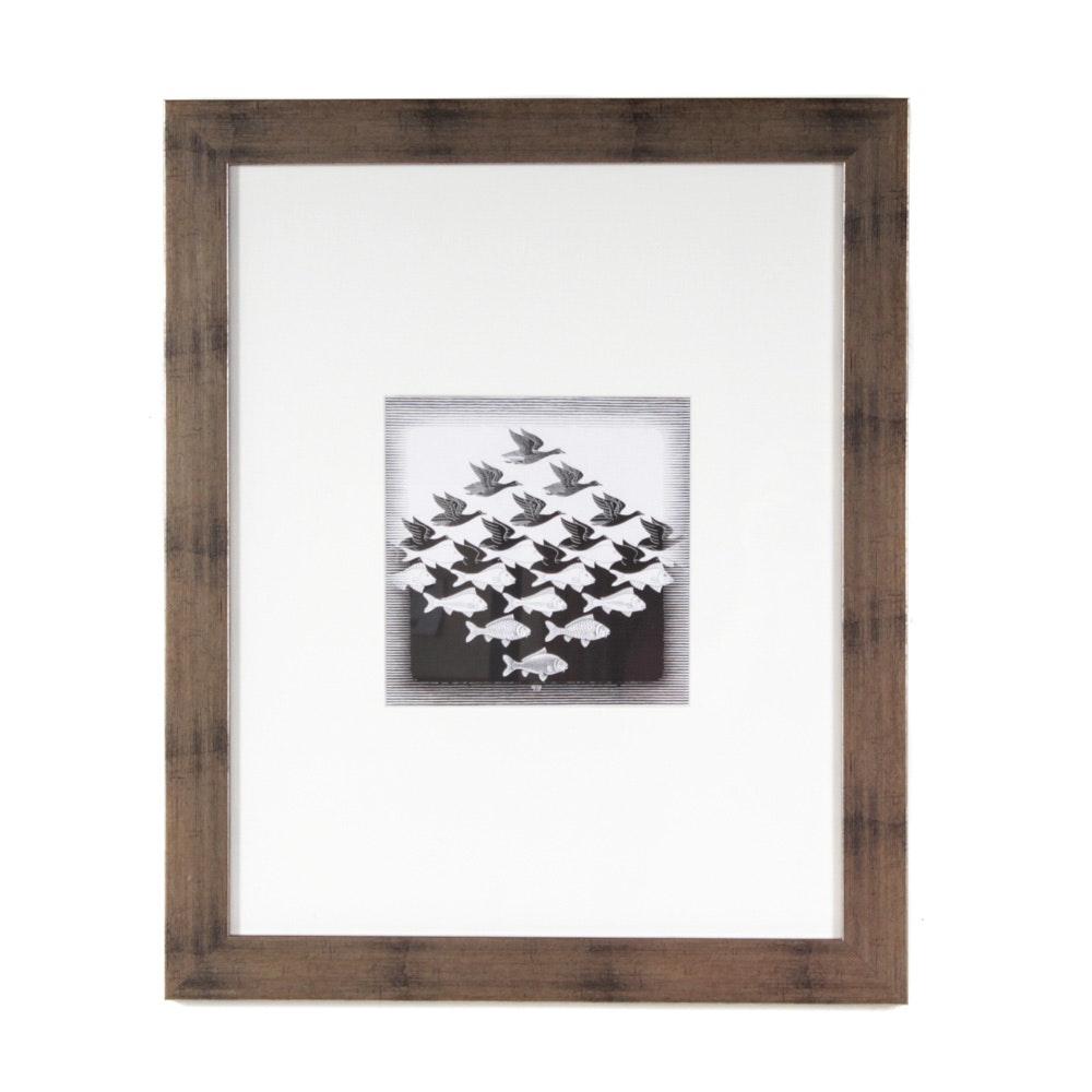 "After M.C. Escher Offset Lithograph ""Sky and Water I"""