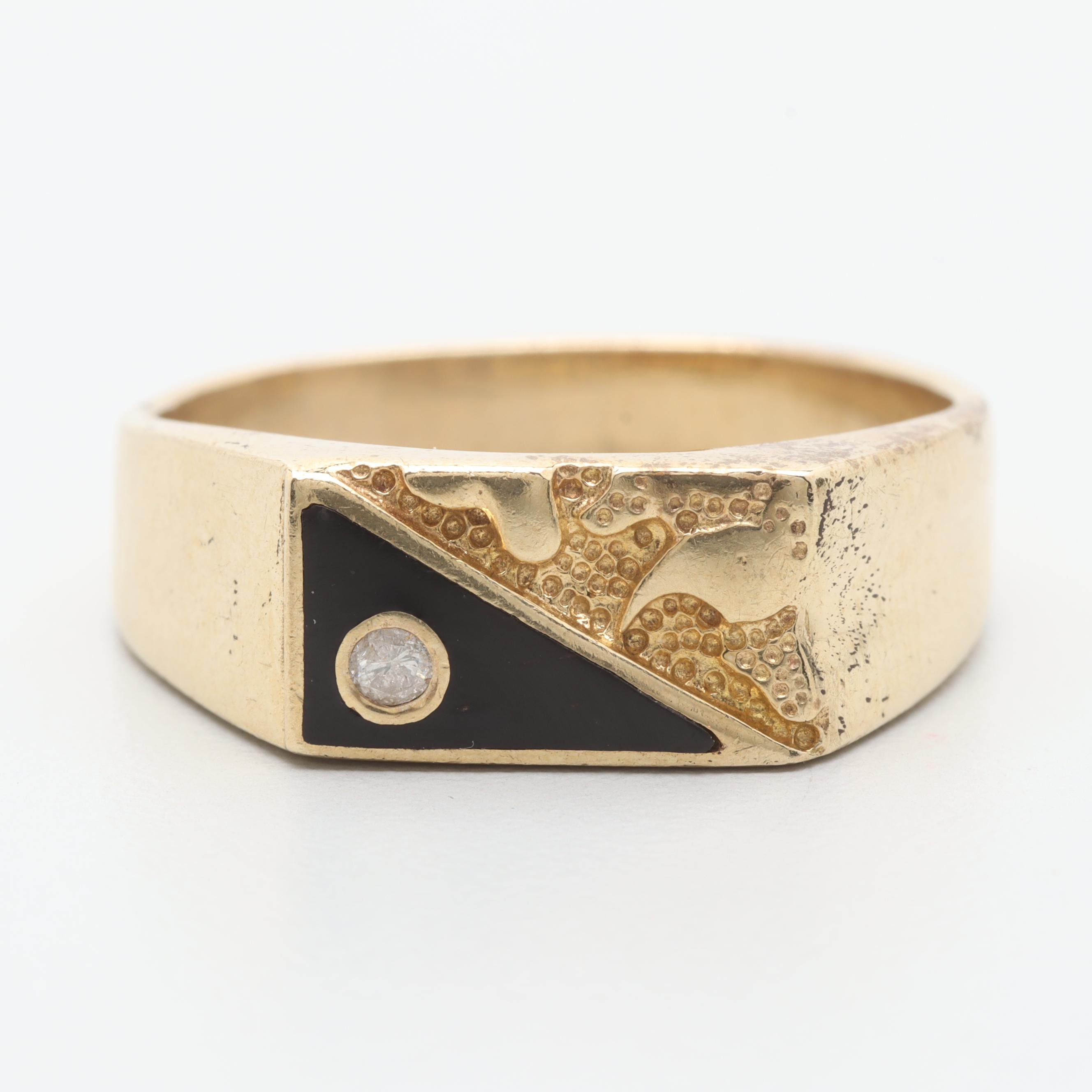 10K Yellow Gold Diamond and Black Enamel Inlay Ring